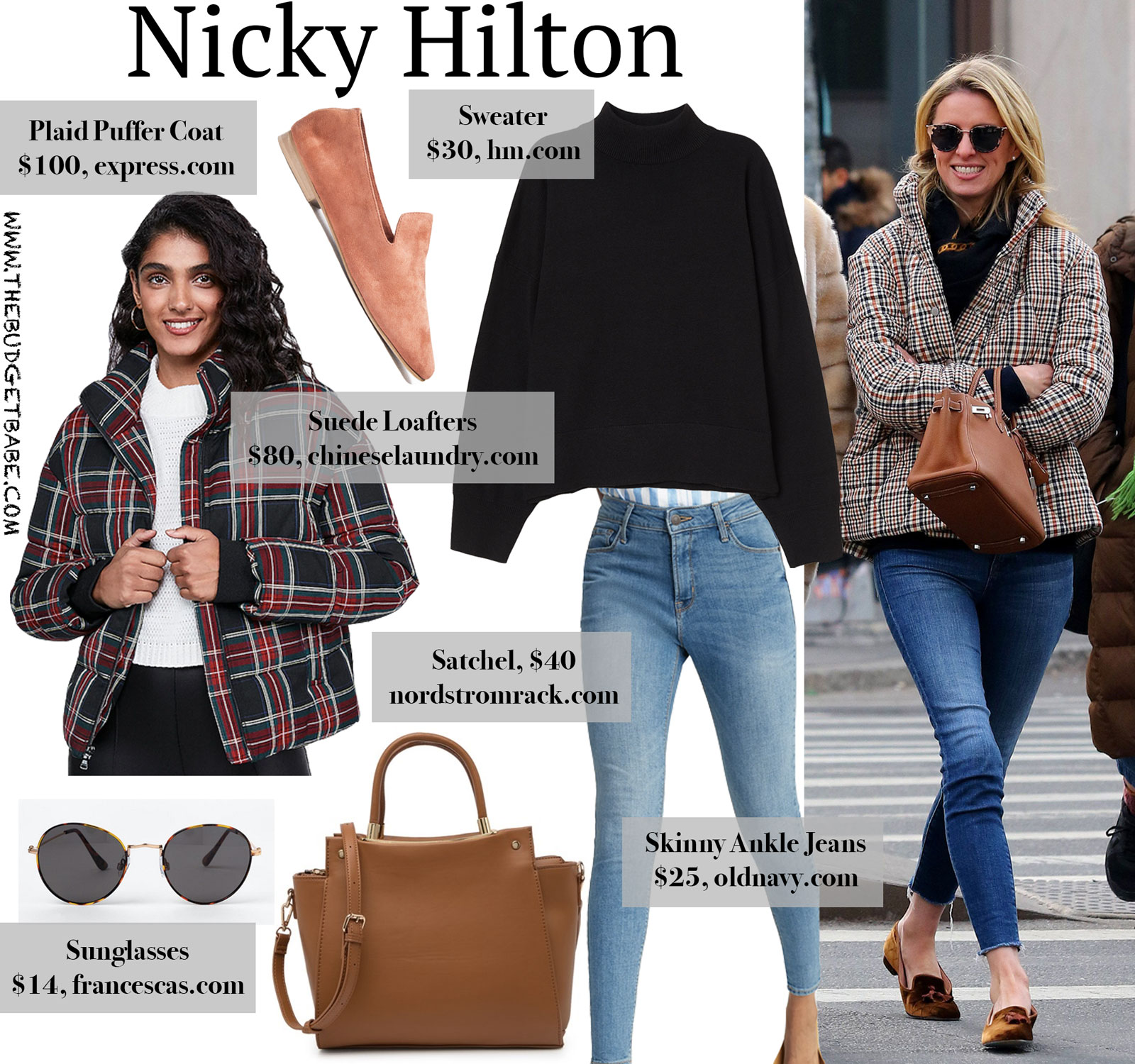 Nicky Hilton Plaid Puffer Coat Look for Less