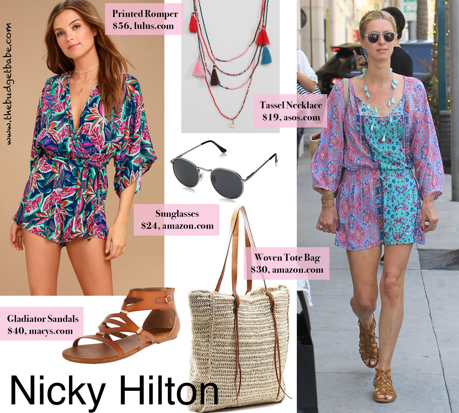 1f165314f627 Get the Look for Less  Nicky Hilton s Bright Printed Romper.