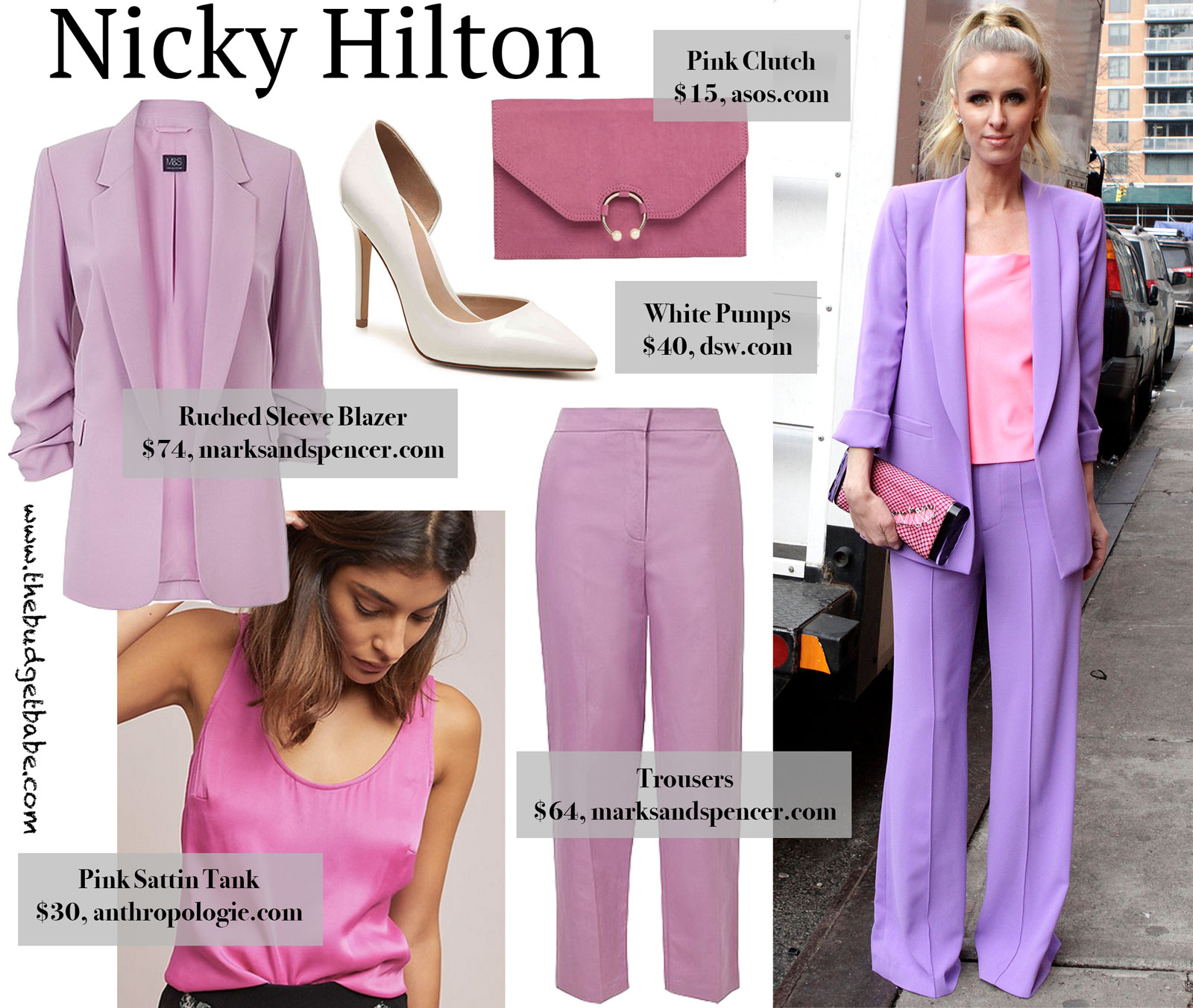 Nicky Hilton Purple Suit Look for Less