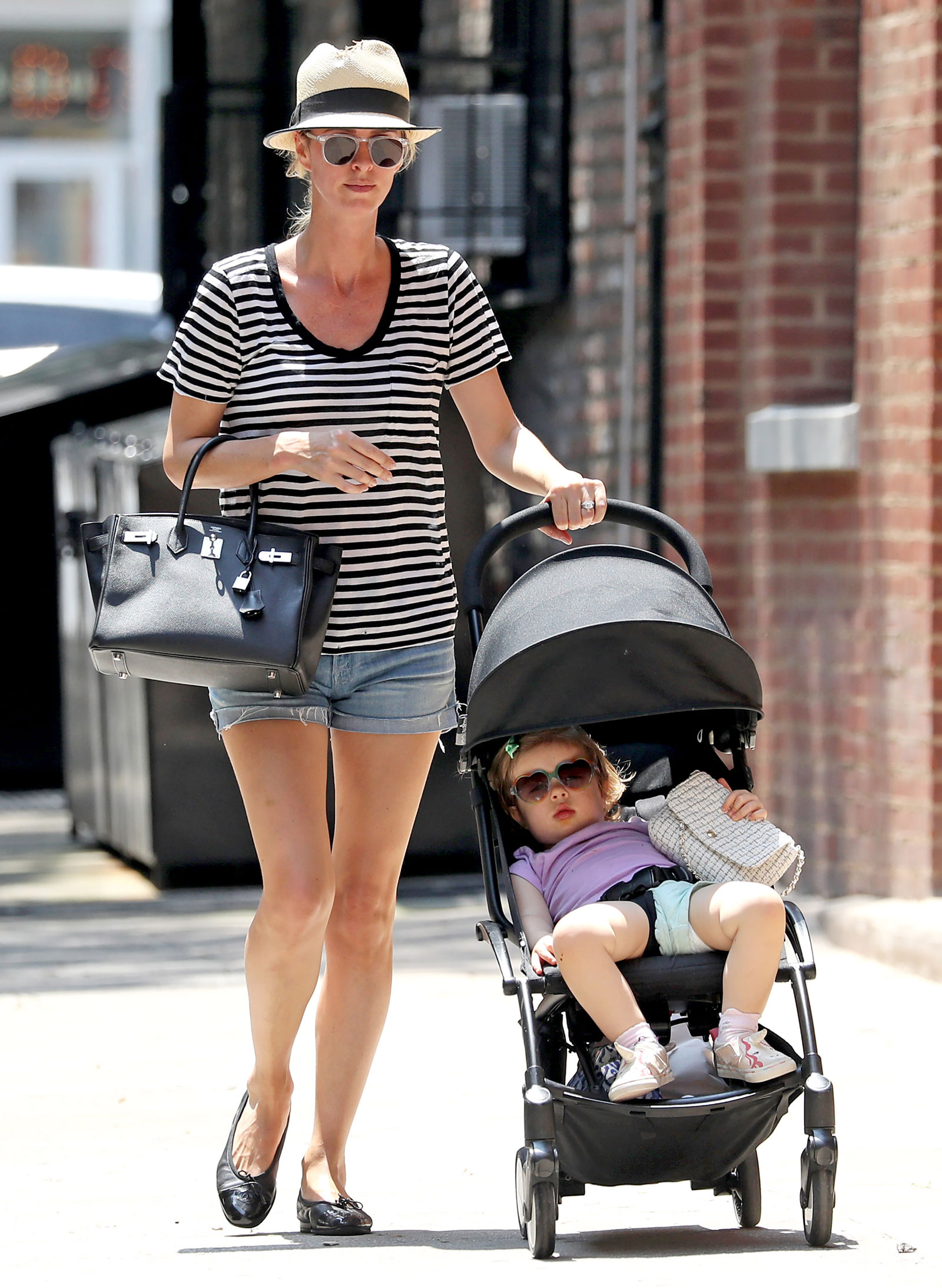 Nicky Hilton Striped Tee and Black Tote