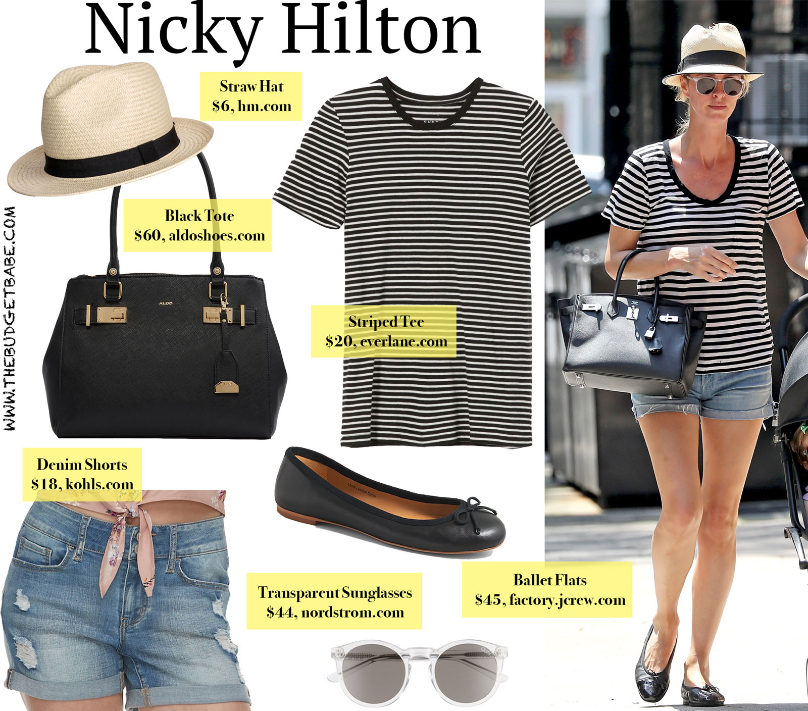 99470eedc8d Nicky Hilton Striped Tee and Black Tote Look for Less
