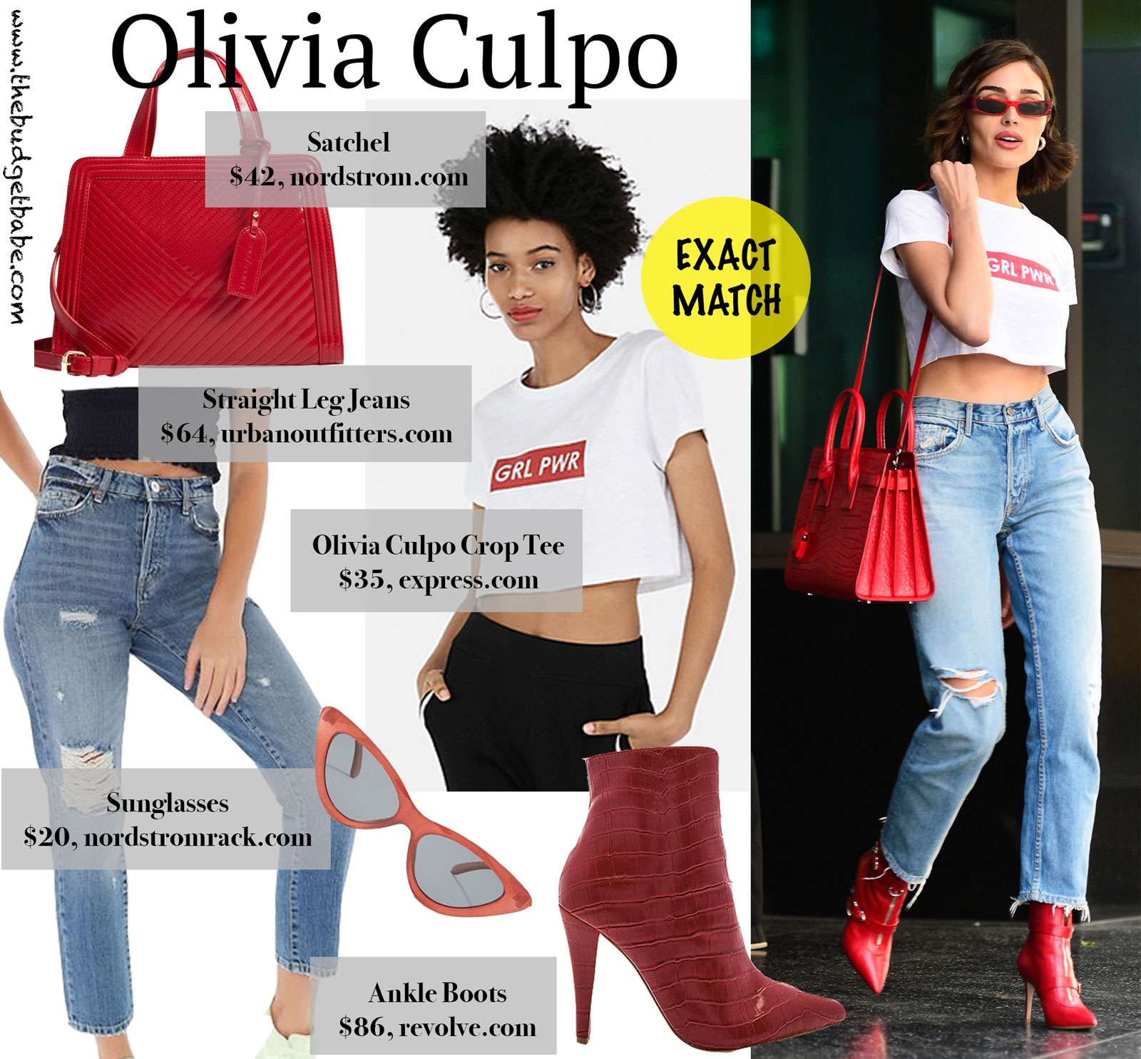 Olivia Culpo Grl Pwr Cropped Tee Look for Less