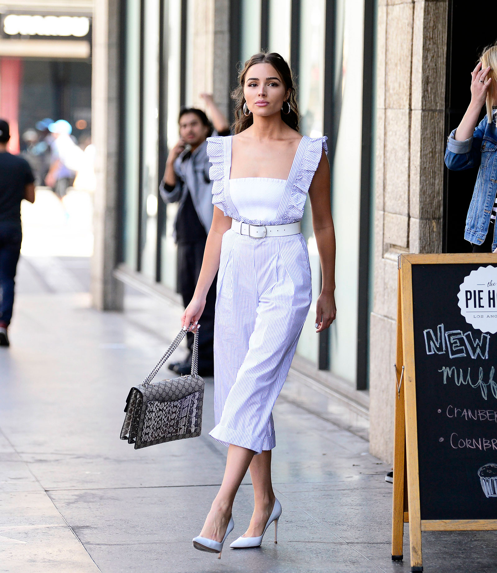 Olivia Culpo's Striped Jumpsuit and Gucci Handbag Look for Less - The Budget Babe | Affordable Fashion & Style Blog