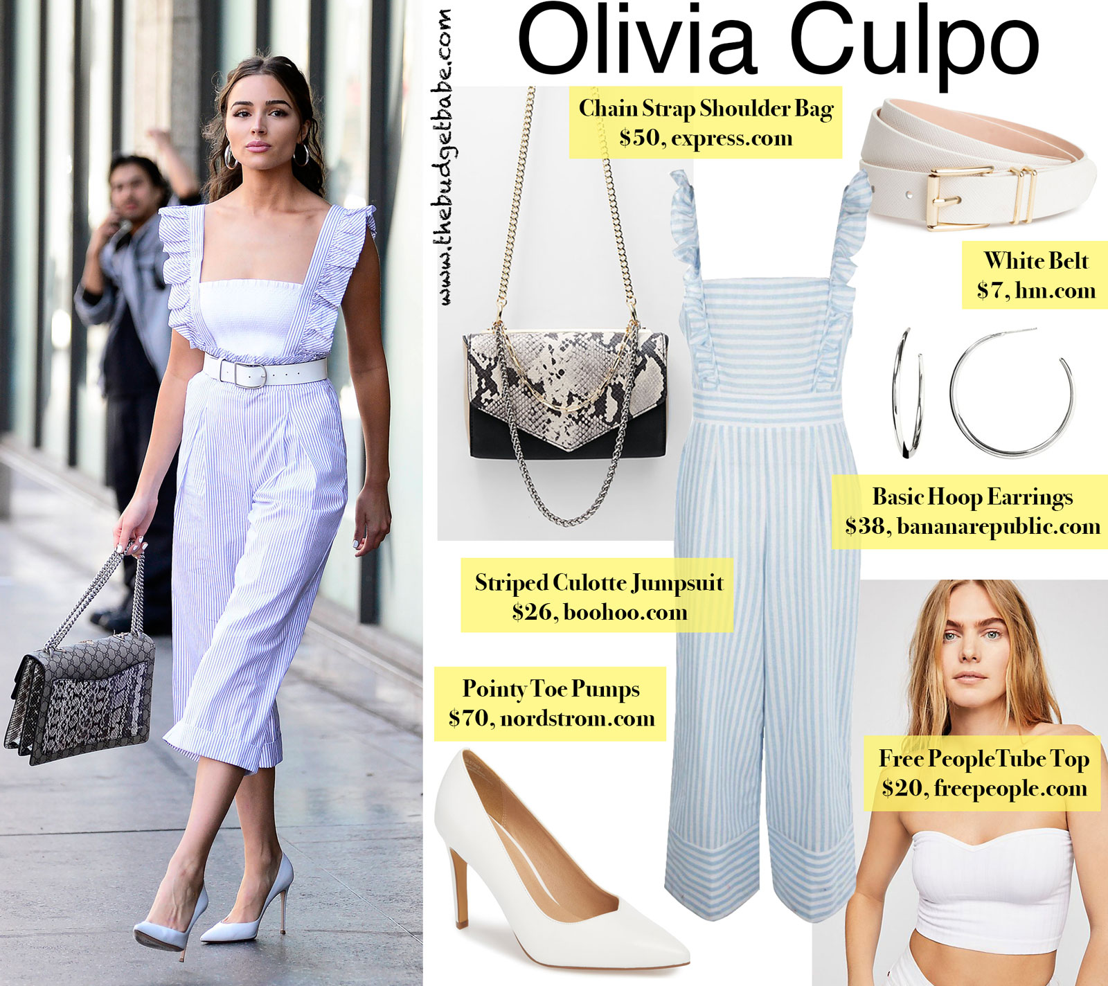 Olivia Culpo Striped Jumpsuit Look for Less