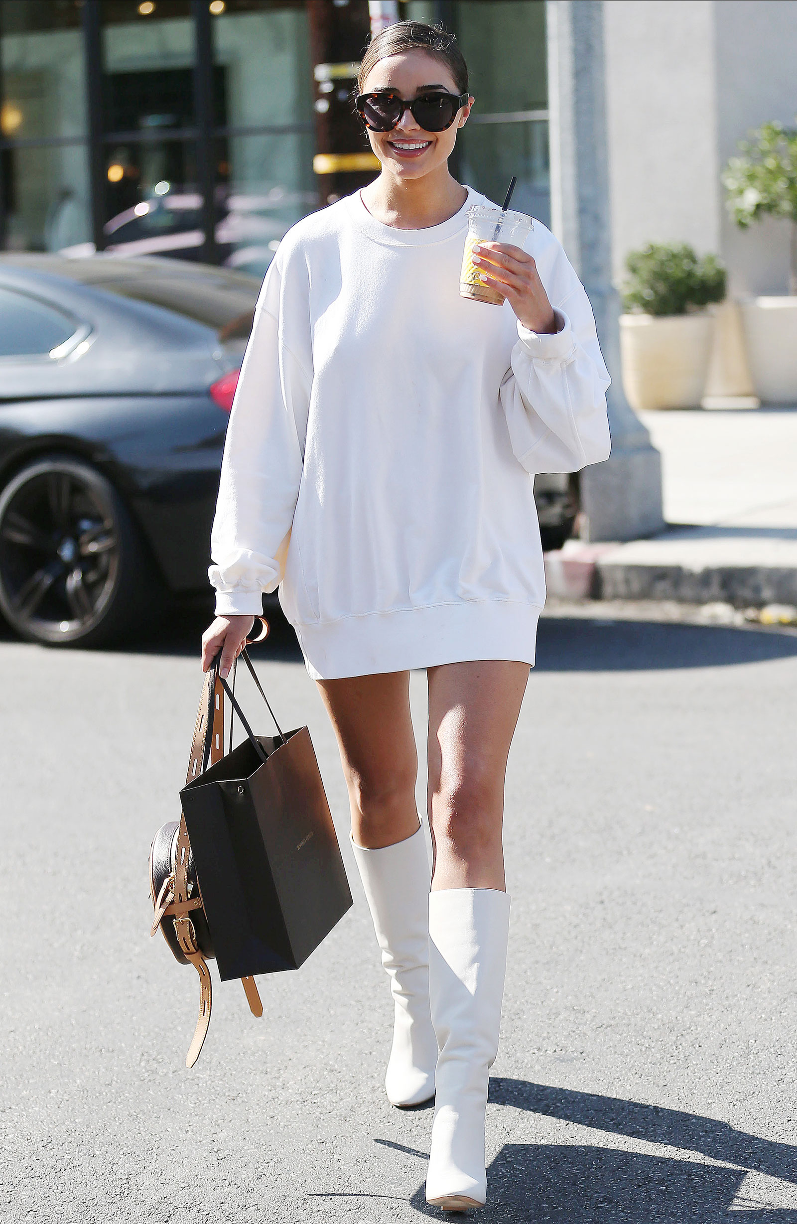 Olivia Culpo White Sweatshirt Dress