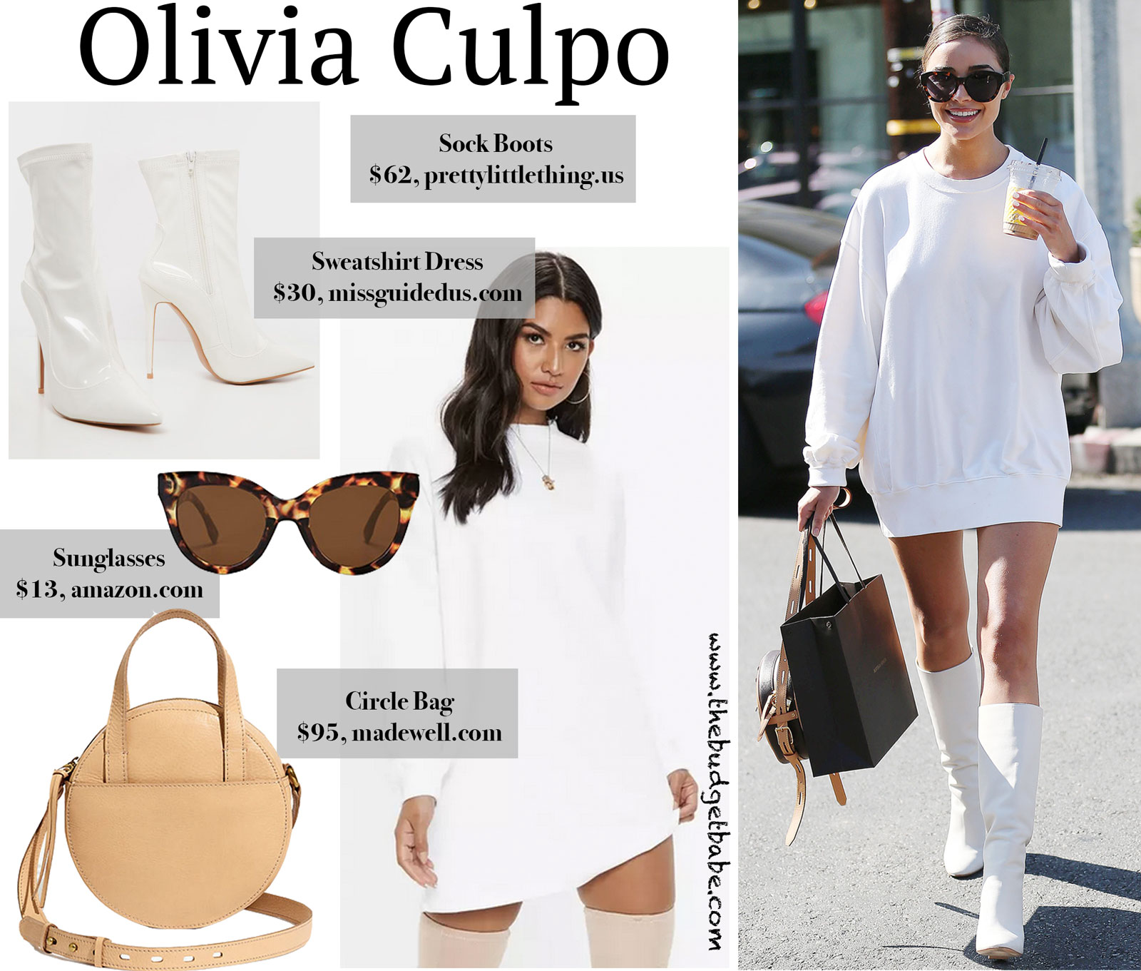 Olivia Culpo White Sweatshirt Dress Look for Less