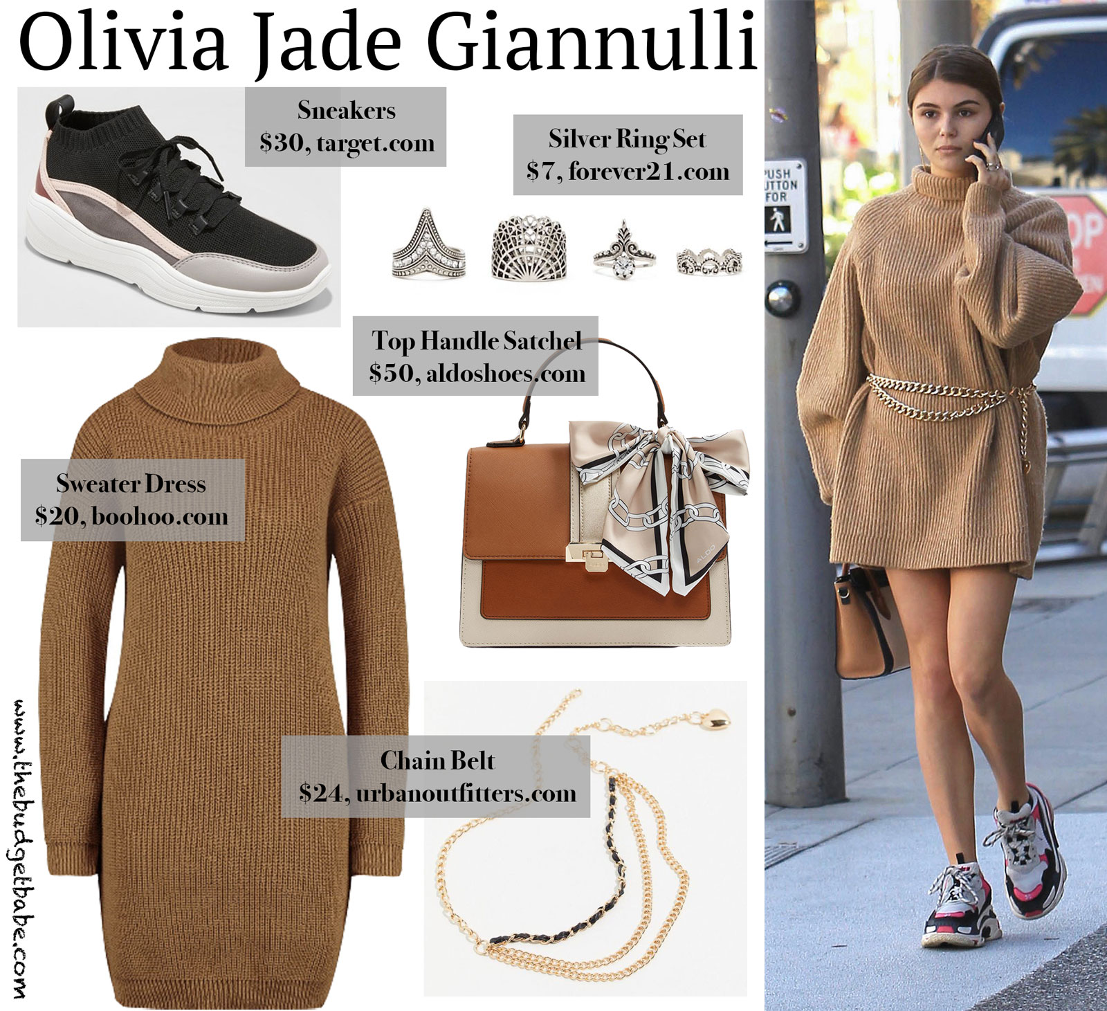 Olivia Jade Sweater Dress, Sneakers, and Chain Belt Look for Less