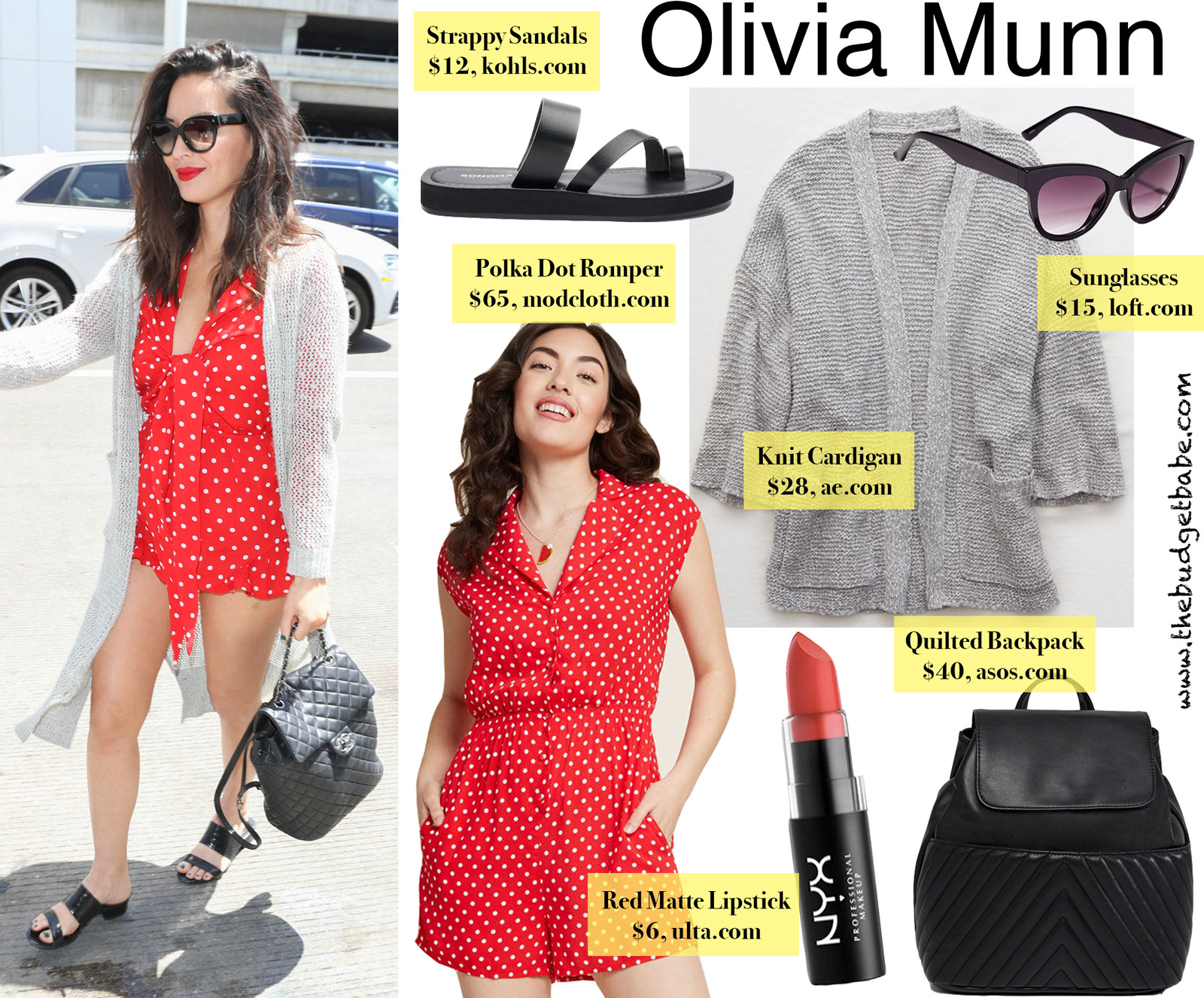 Olivia Munn Red Polka Dot Romper Look for Less