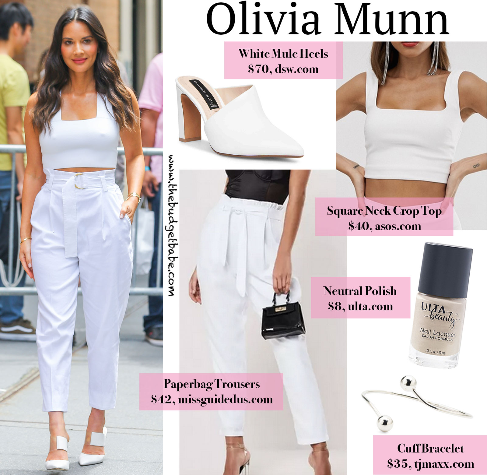 Olivia Munn White Paperbag Pants Look for Less