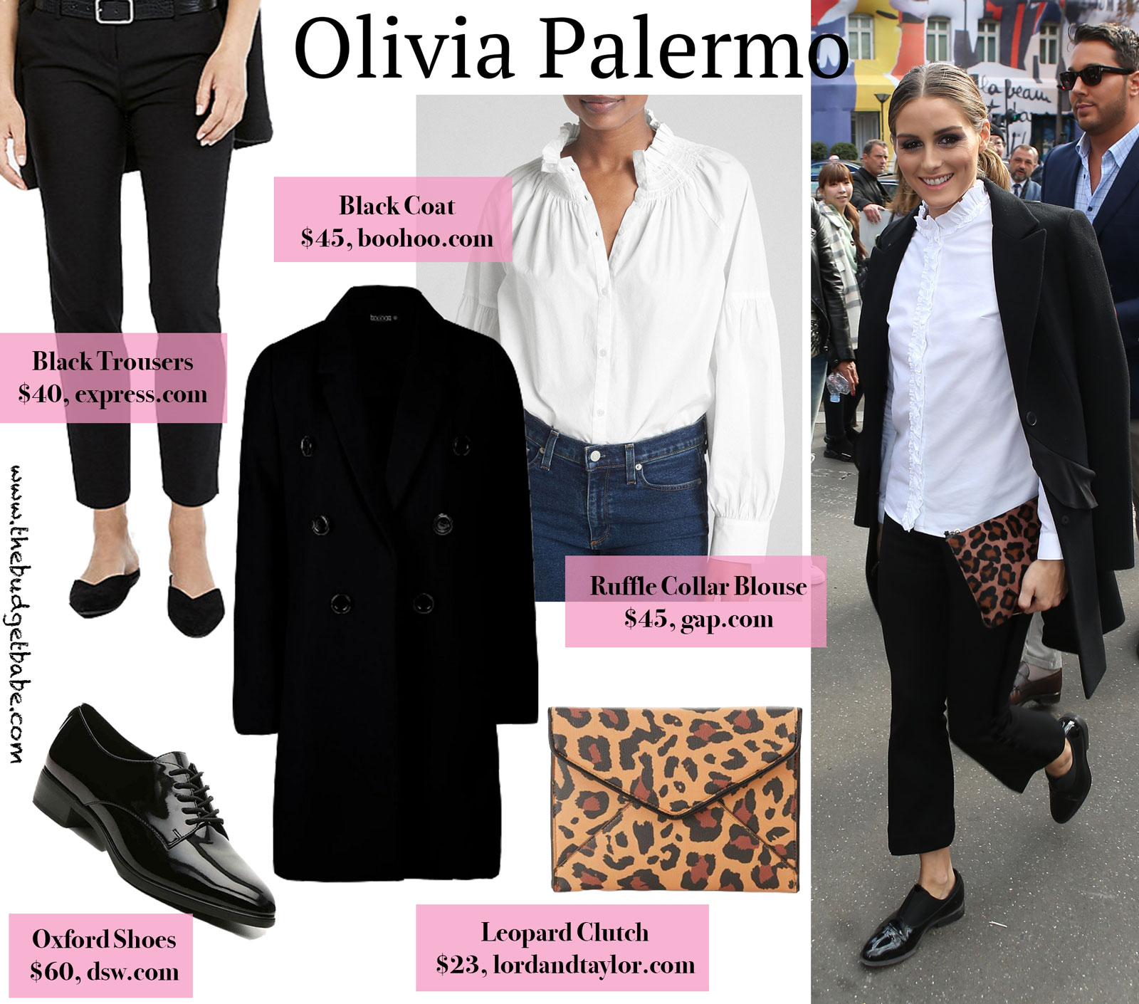 Olivia Palermo Leopard Clutch, Oxfords and White Blouse Look for Less