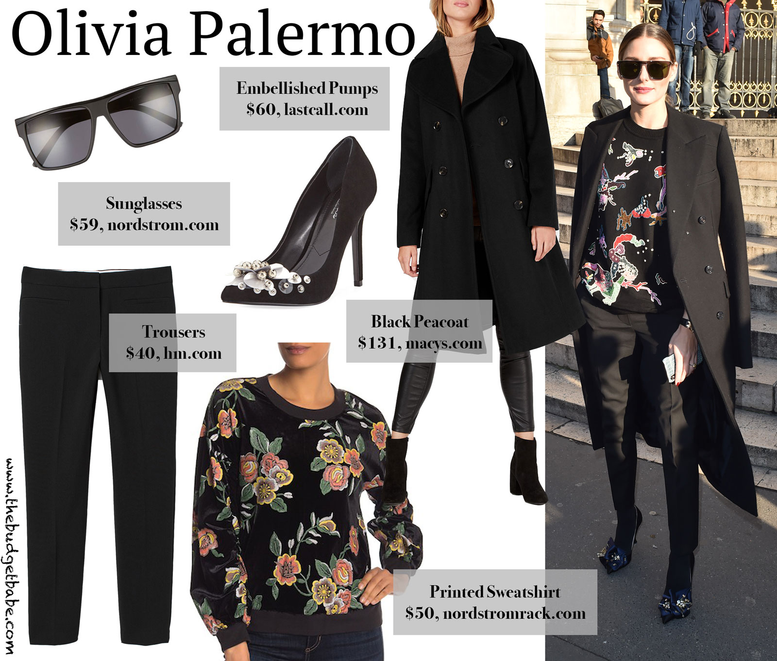 Olivia Palermo Printed Sweatshirt and Peacoat Look for Less
