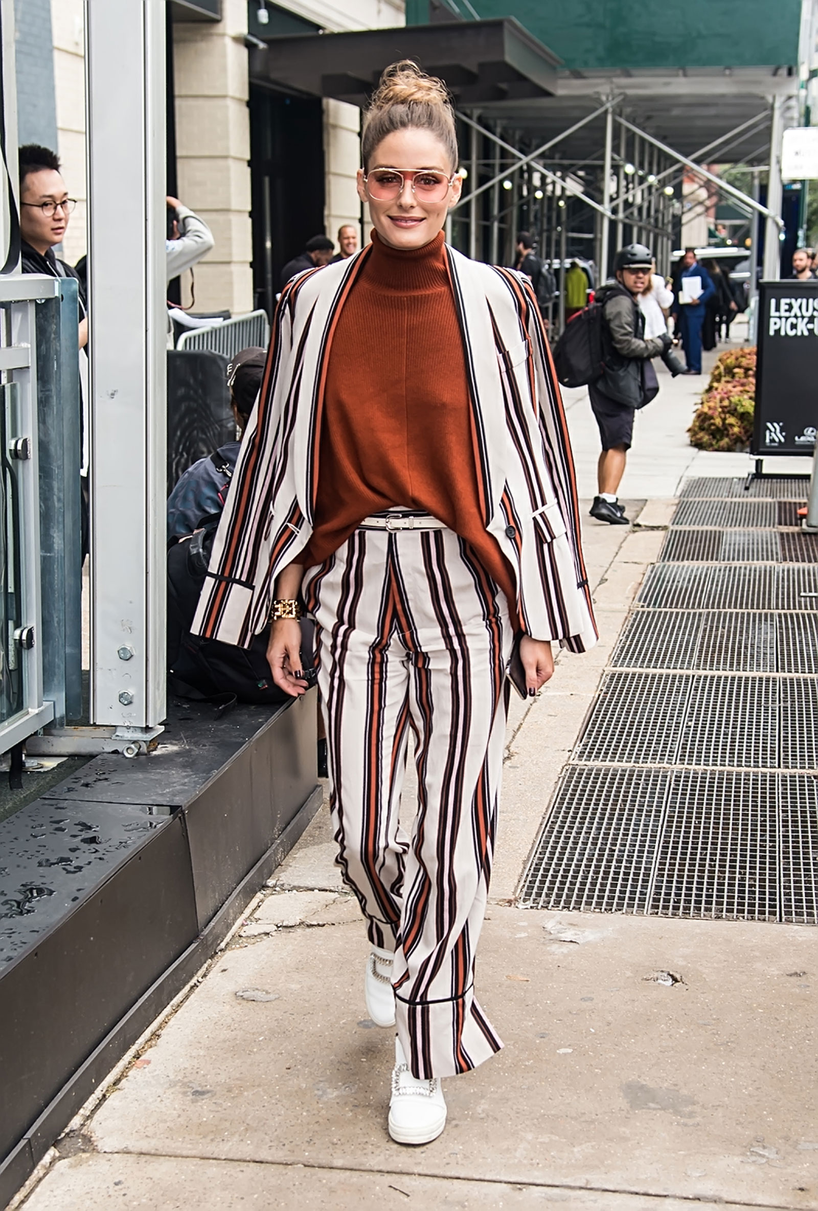 Olivia Palermo Striped Suit and Studded Sneakers NYFW