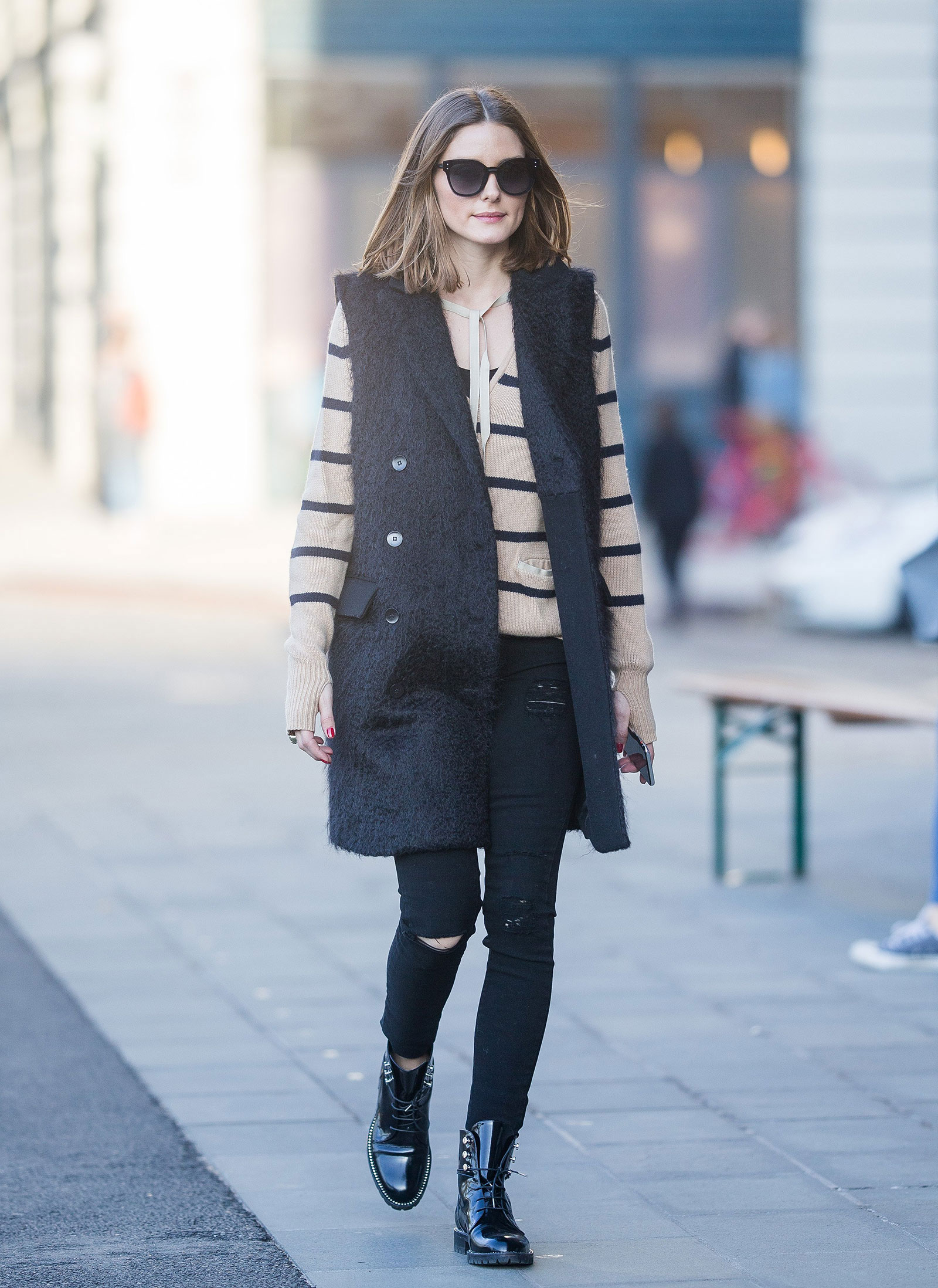 Olivia Palermo Long Vest and Striped Sweater