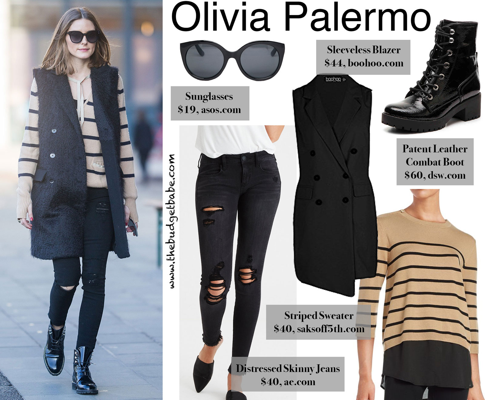 Olivia Palermo Long Vest and Striped Sweater Look for Less