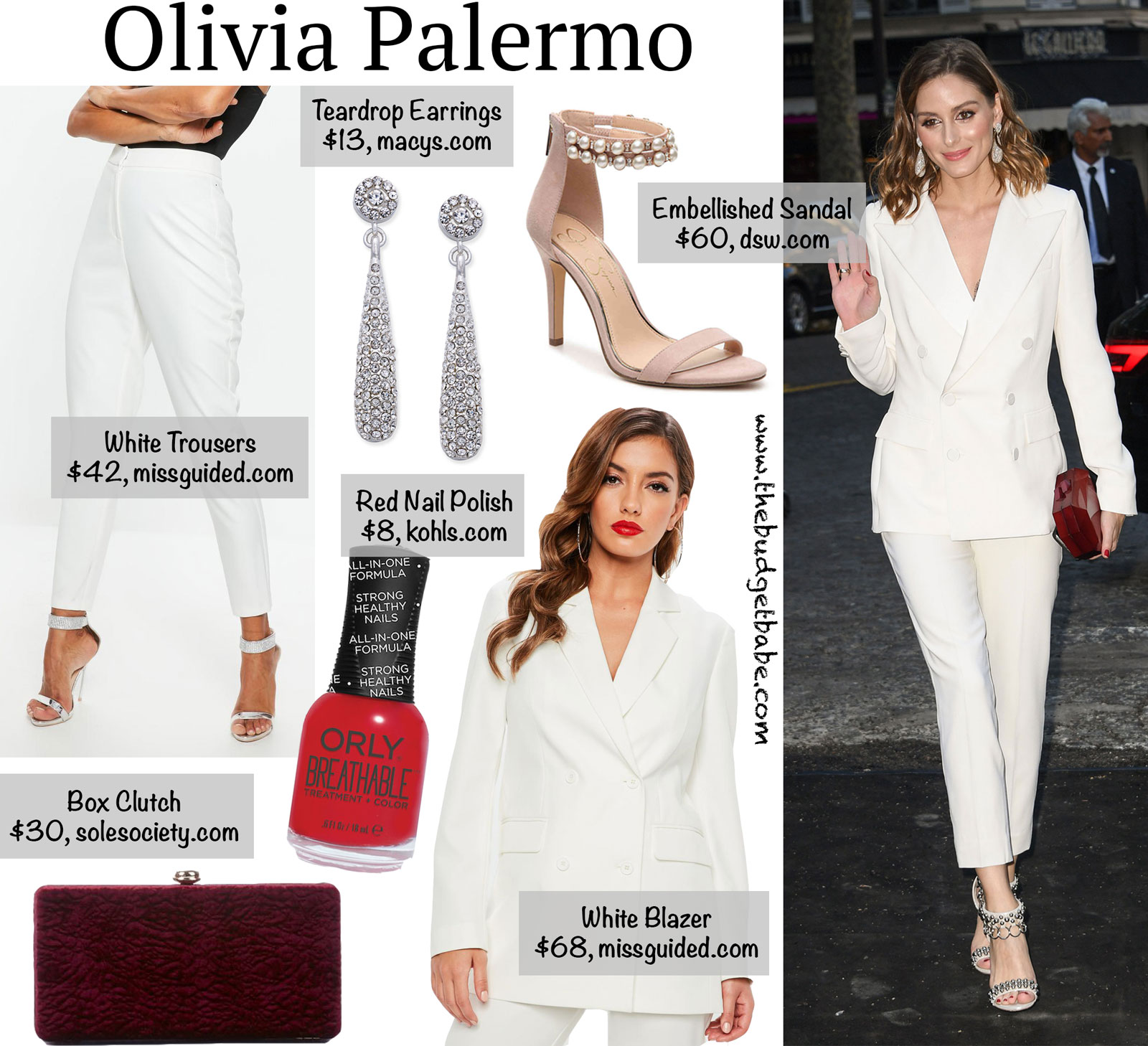 Olivia Palermo White Blazer and Pants Look for Less