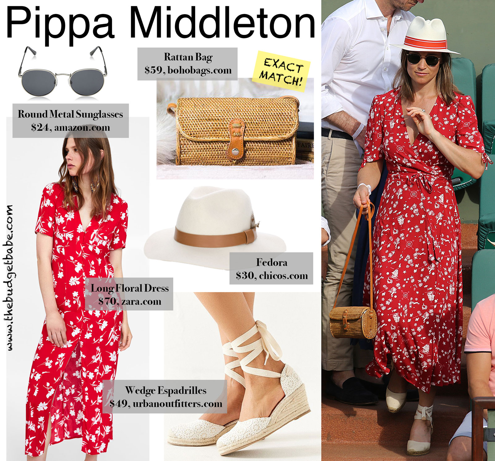Pippa Middleton's Red Floral Wrap Dress Look for Less