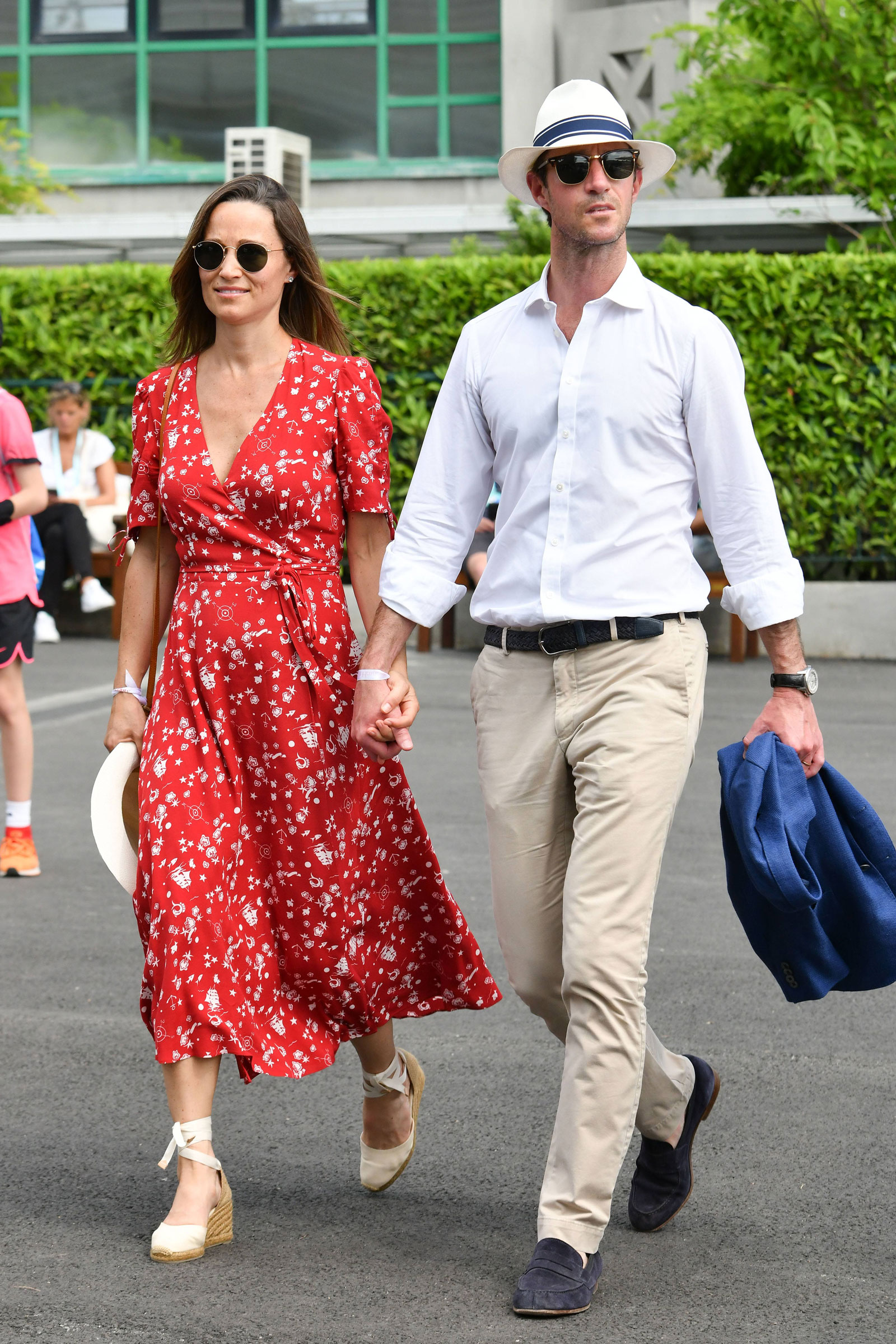 Pippa Middleton Red Floral Wrap Dress  and Wedge Espadrilles