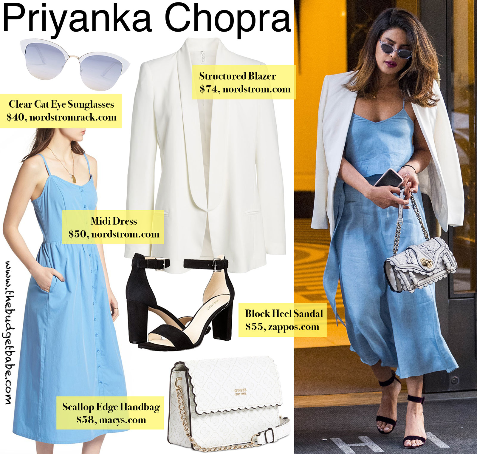 Priyanka Chopra Blue Dress and Scallop Handbag Look for Less