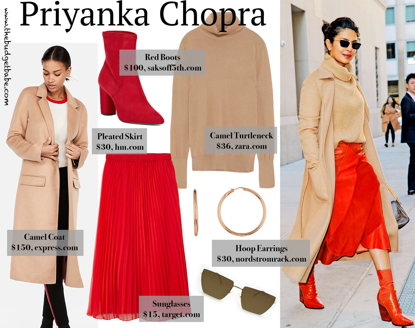Priyanka Chopra Red Skirt and Camel Coat Look for Less