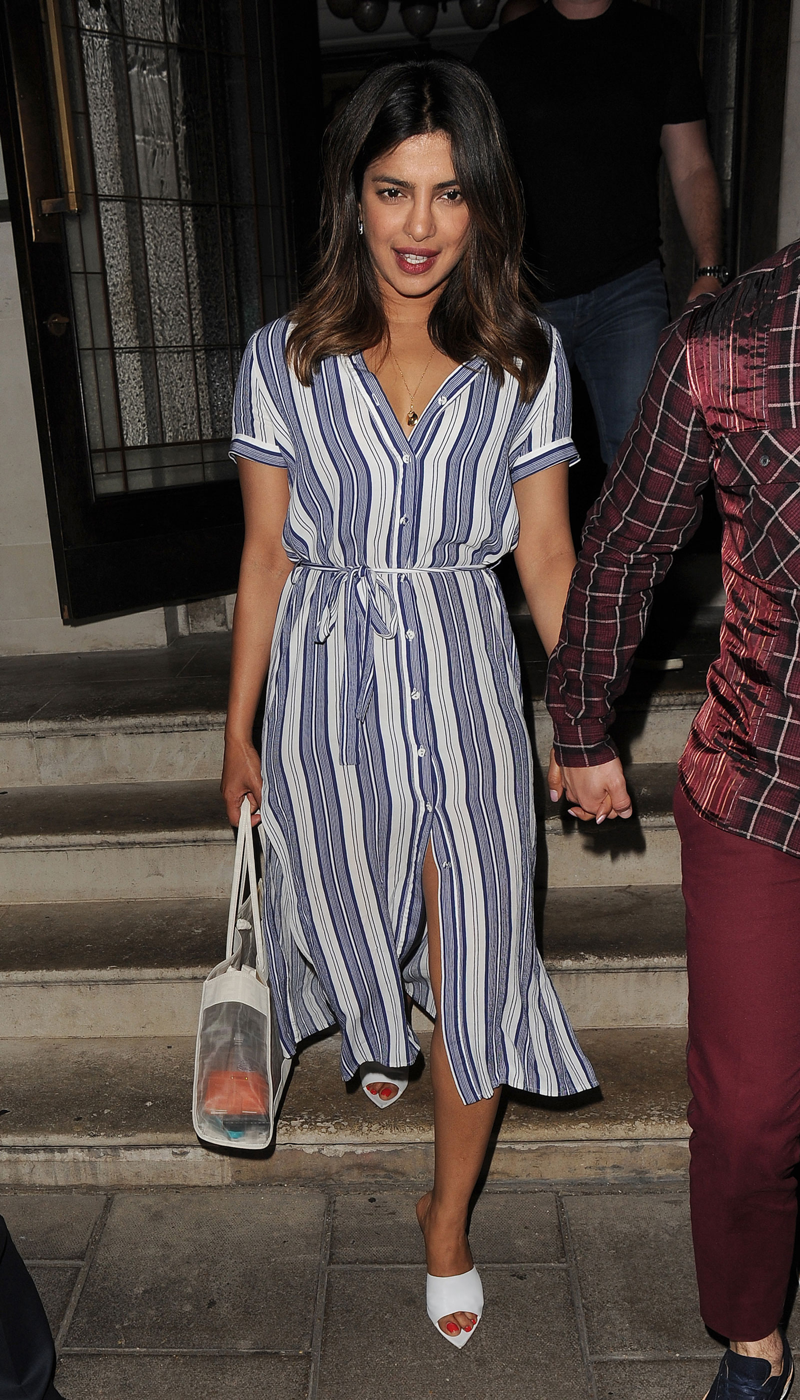 Priyanka Chopra Blue Striped Dress and White Mules