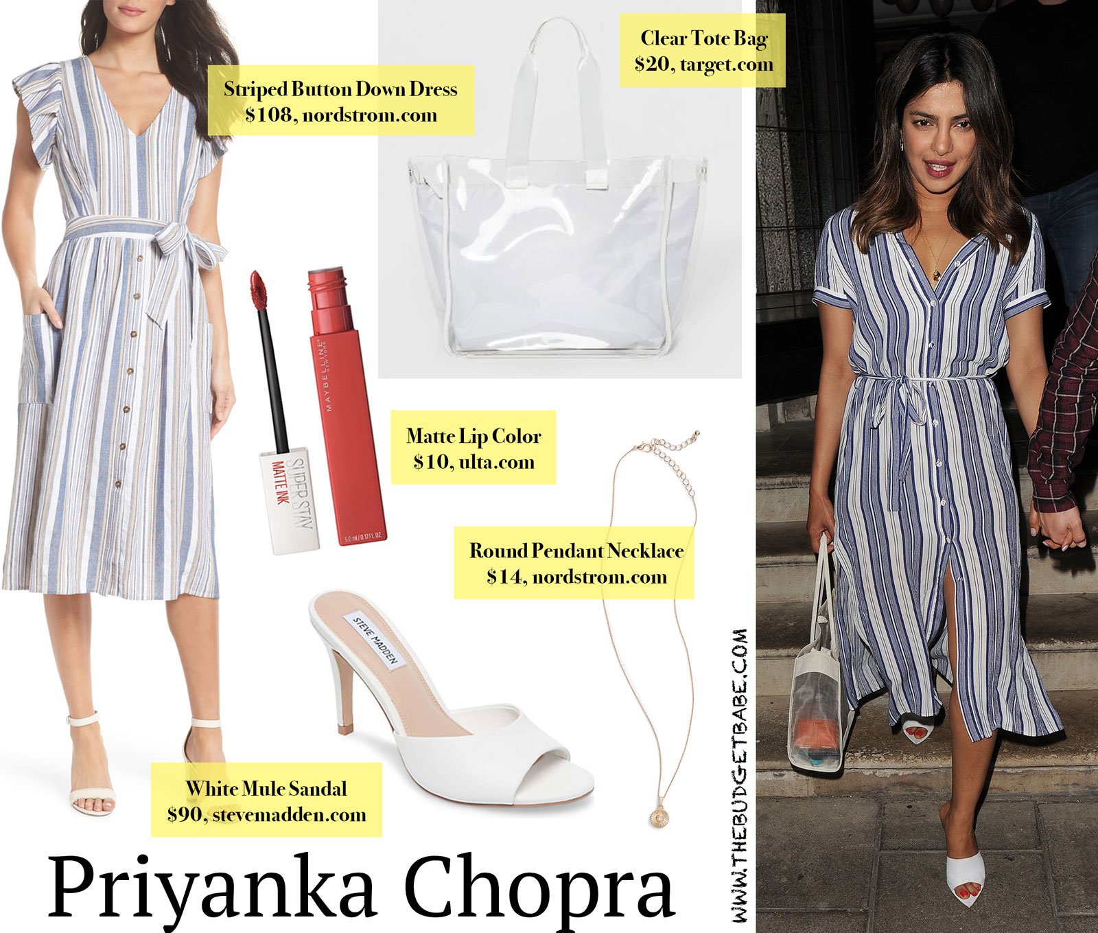 Priyanka Chopra Blue Striped Dress and White Mules Look for Less