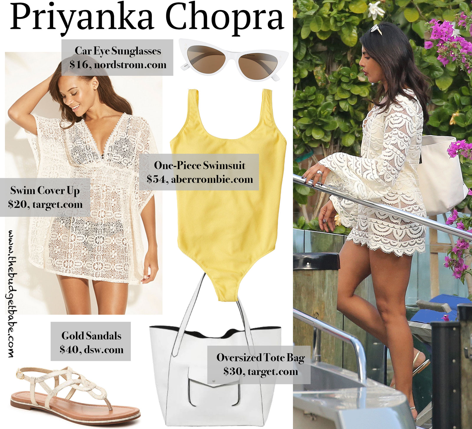 Priyanka Chopra White Swim Cover Up Look for Less