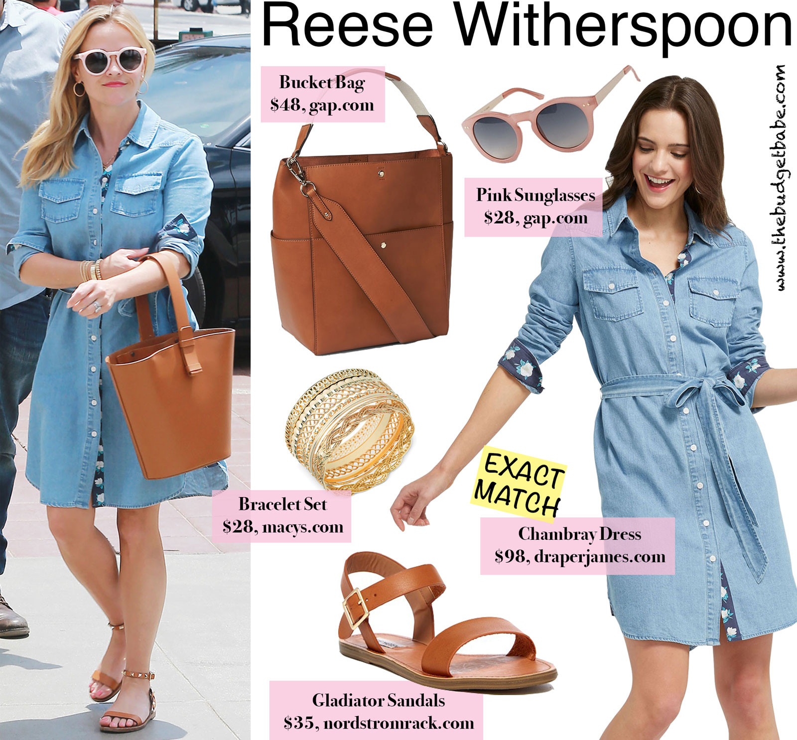 Reese Witherspoon Draper James Denim Dress Look for Less