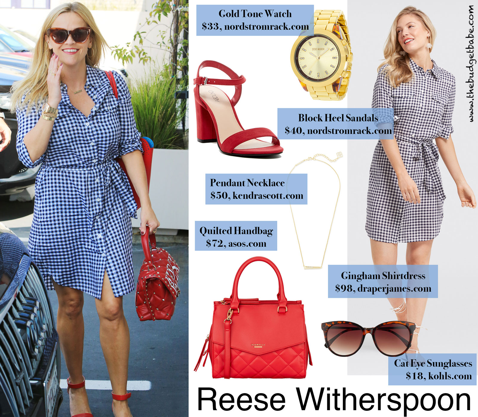 Reese Witherspoon Gingham Dress Look for Less