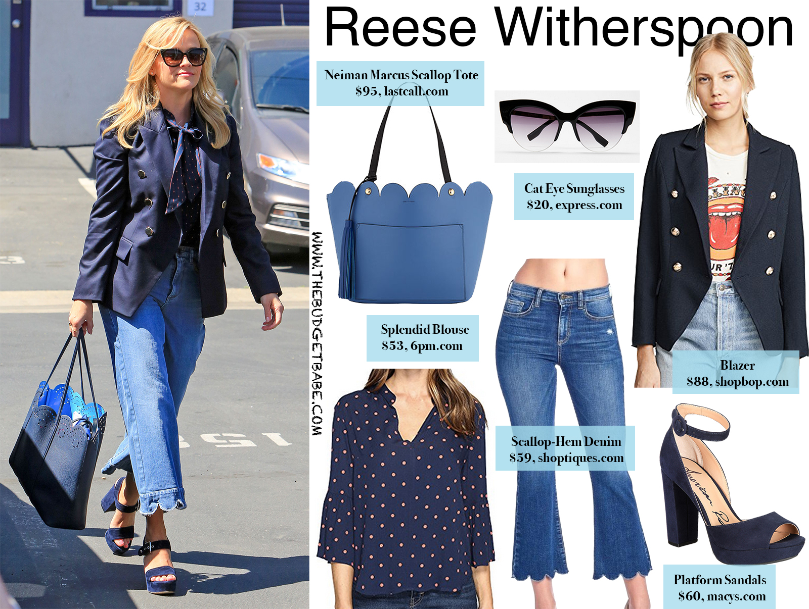 6ddff63ab1 Reese Witherspoon s Scallop-Hem Denim and Blazer