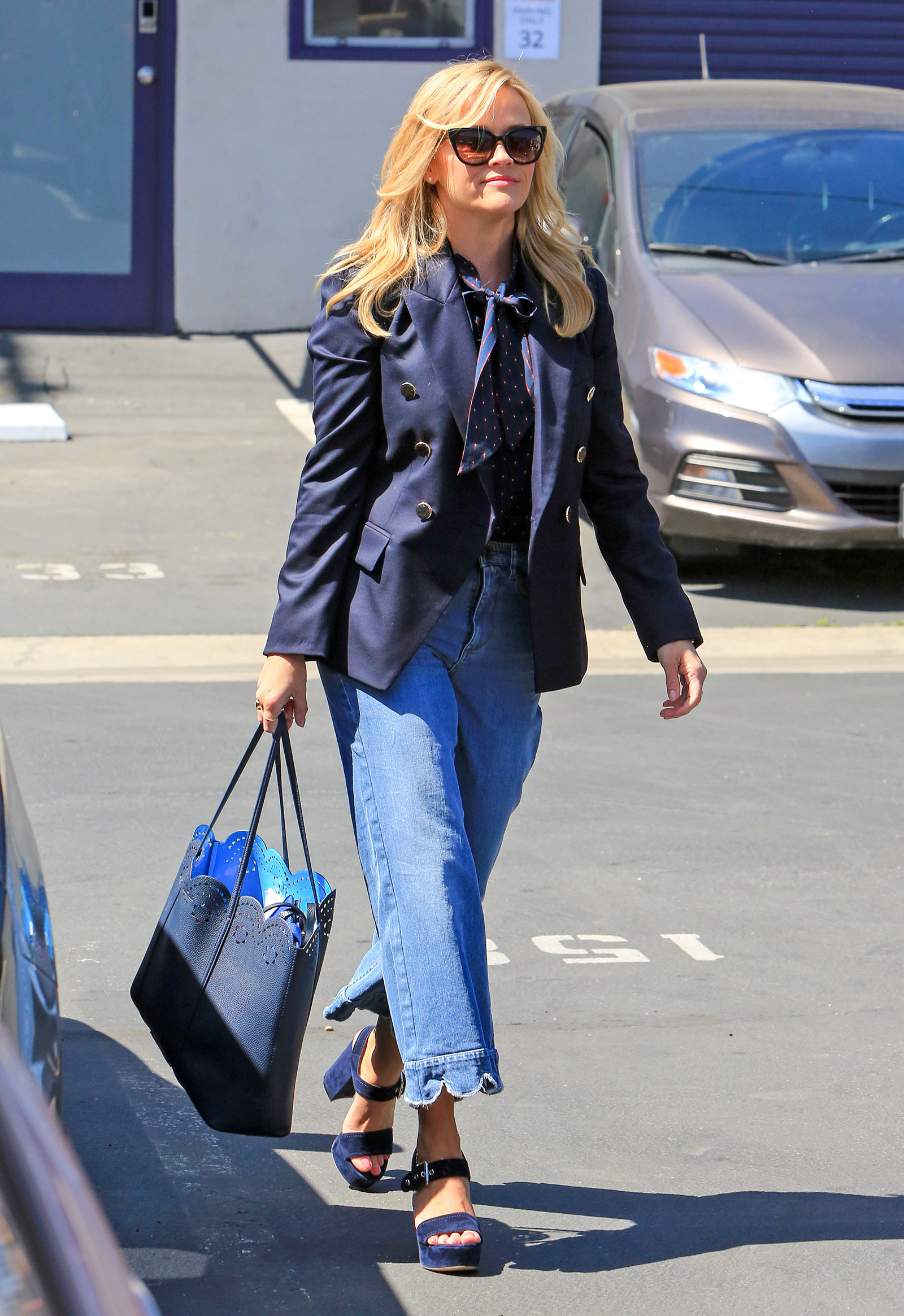 Reese Witherspoon's Scallop-Hem Jeans & Blazer