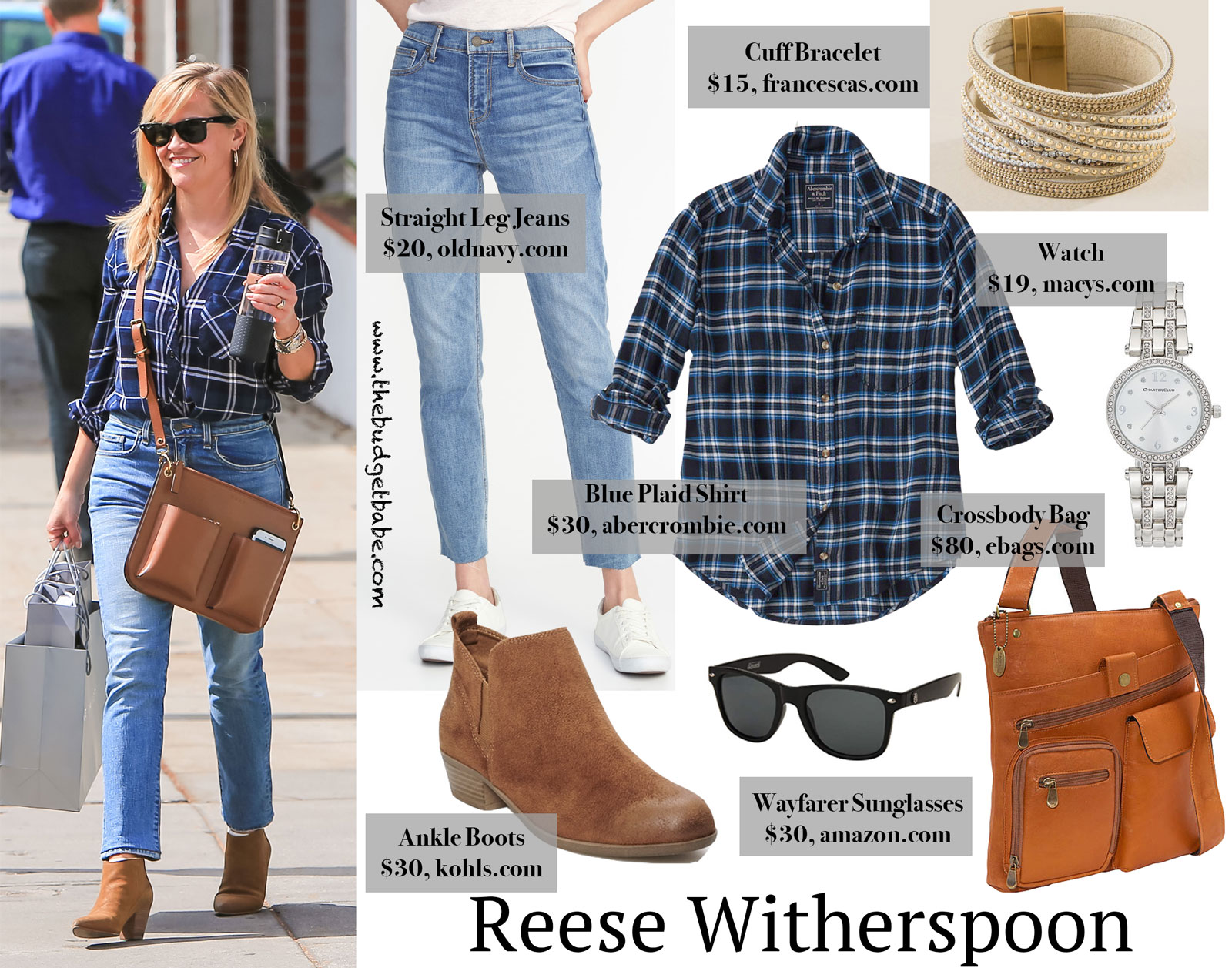 Reese Witherspoon Plaid Shirt and Cognac Ankle Boots Look for Less