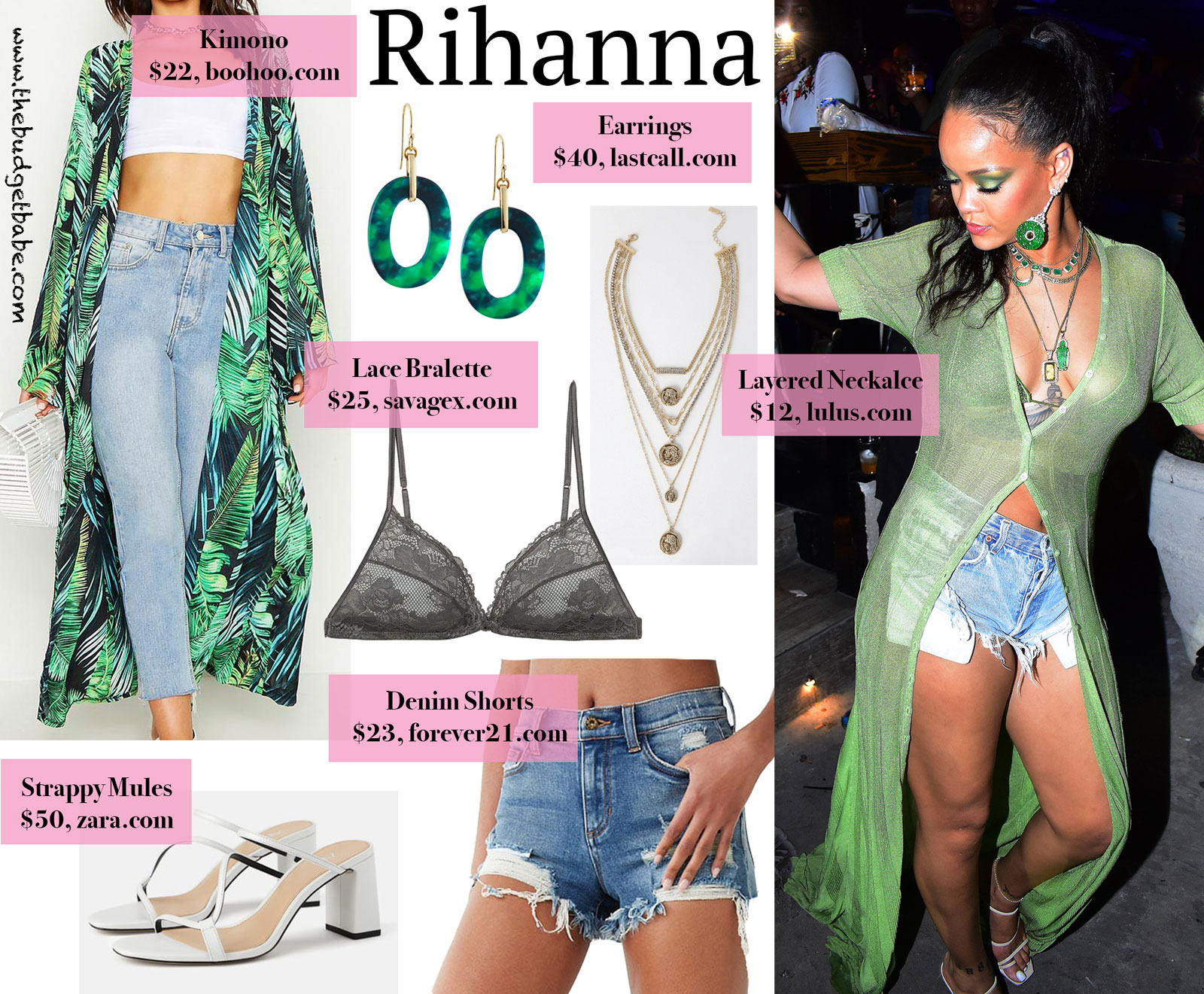 Rihanna Green Cover Up and Slide Sandals Look for Less