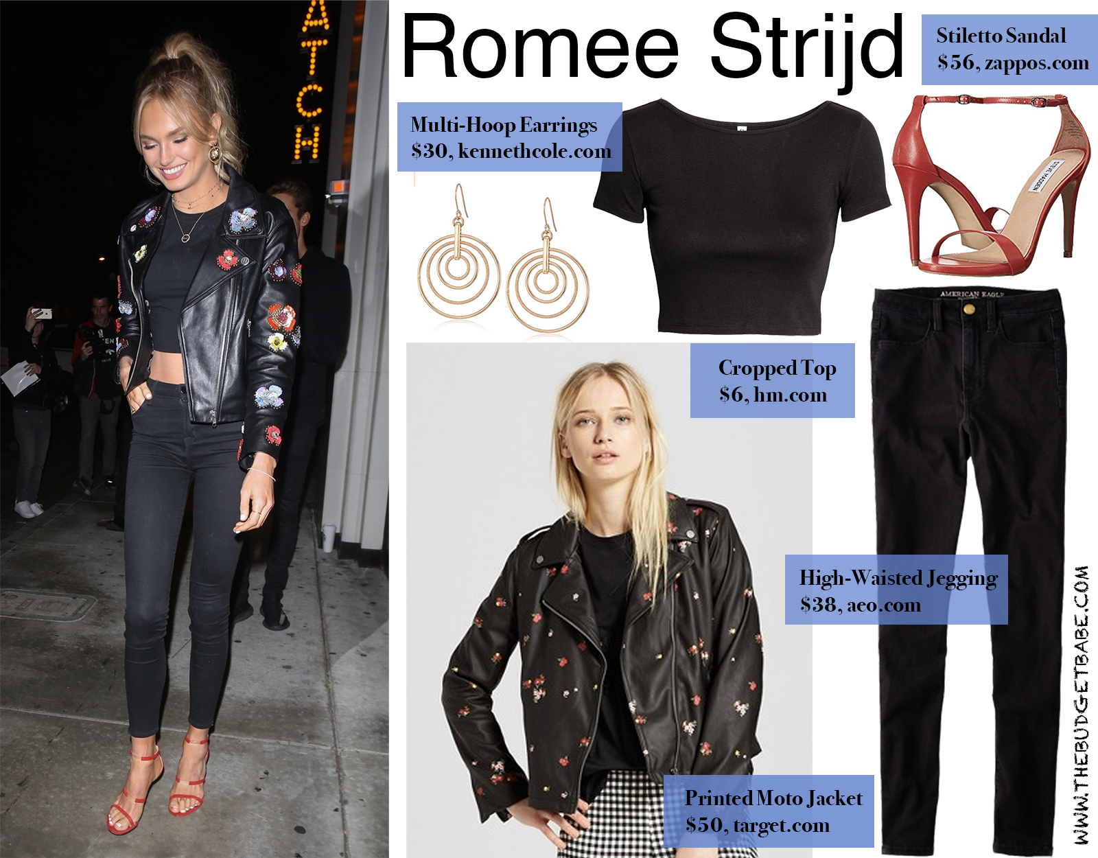 Romee Strijd Floral Moto Jacket and Bright Stiletto Sandals For Less