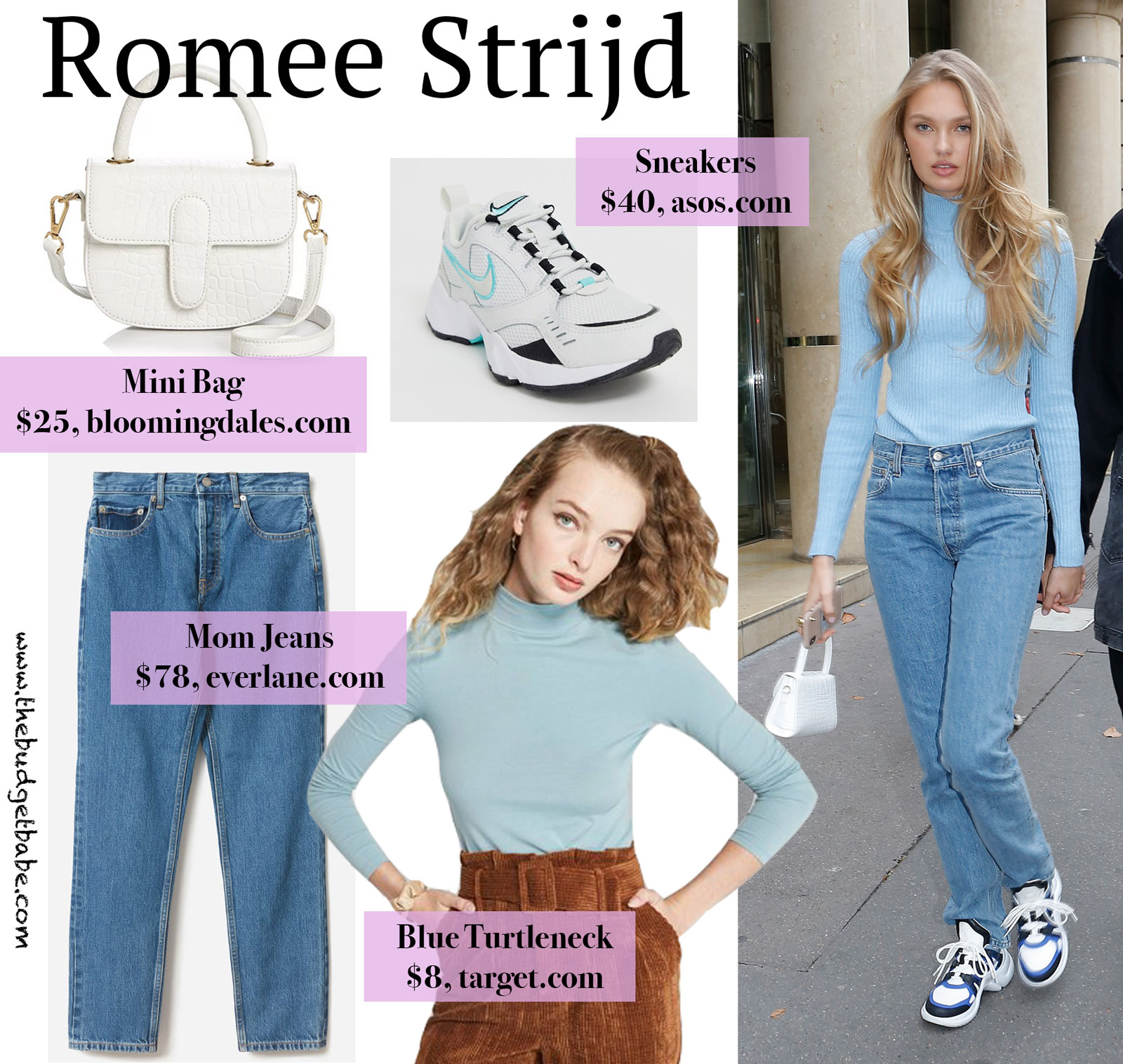 Romee Strijd Blue Turtleneck Look for Less
