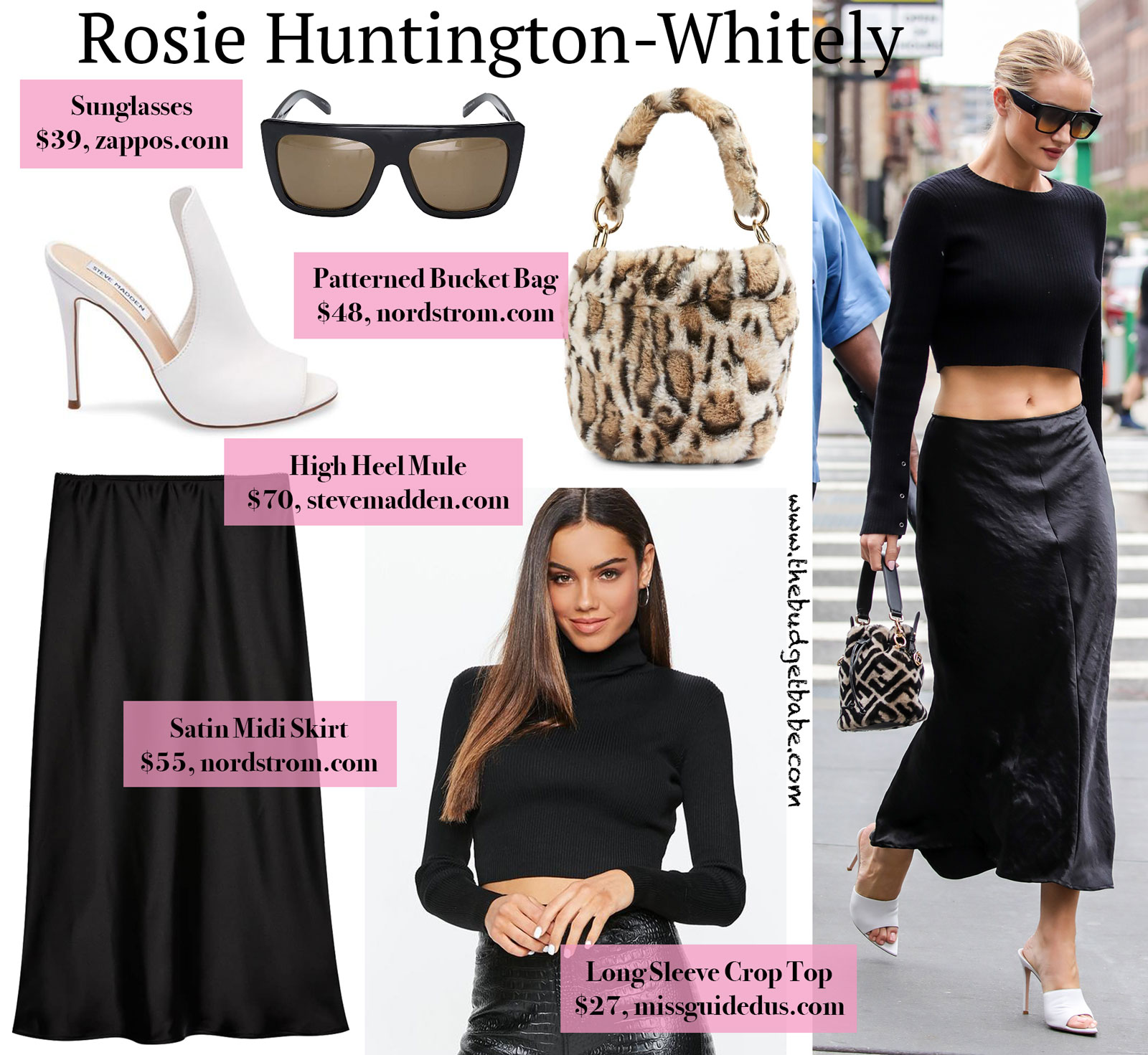 Rosie Huntington-Whitely Crop Top, Skirt, Fendi Bag Look for Less