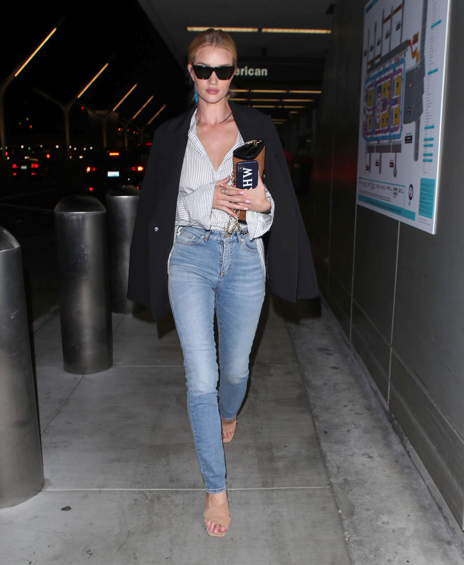 Rosie Huntington-Whitely Striped Button Down and Black Blazer