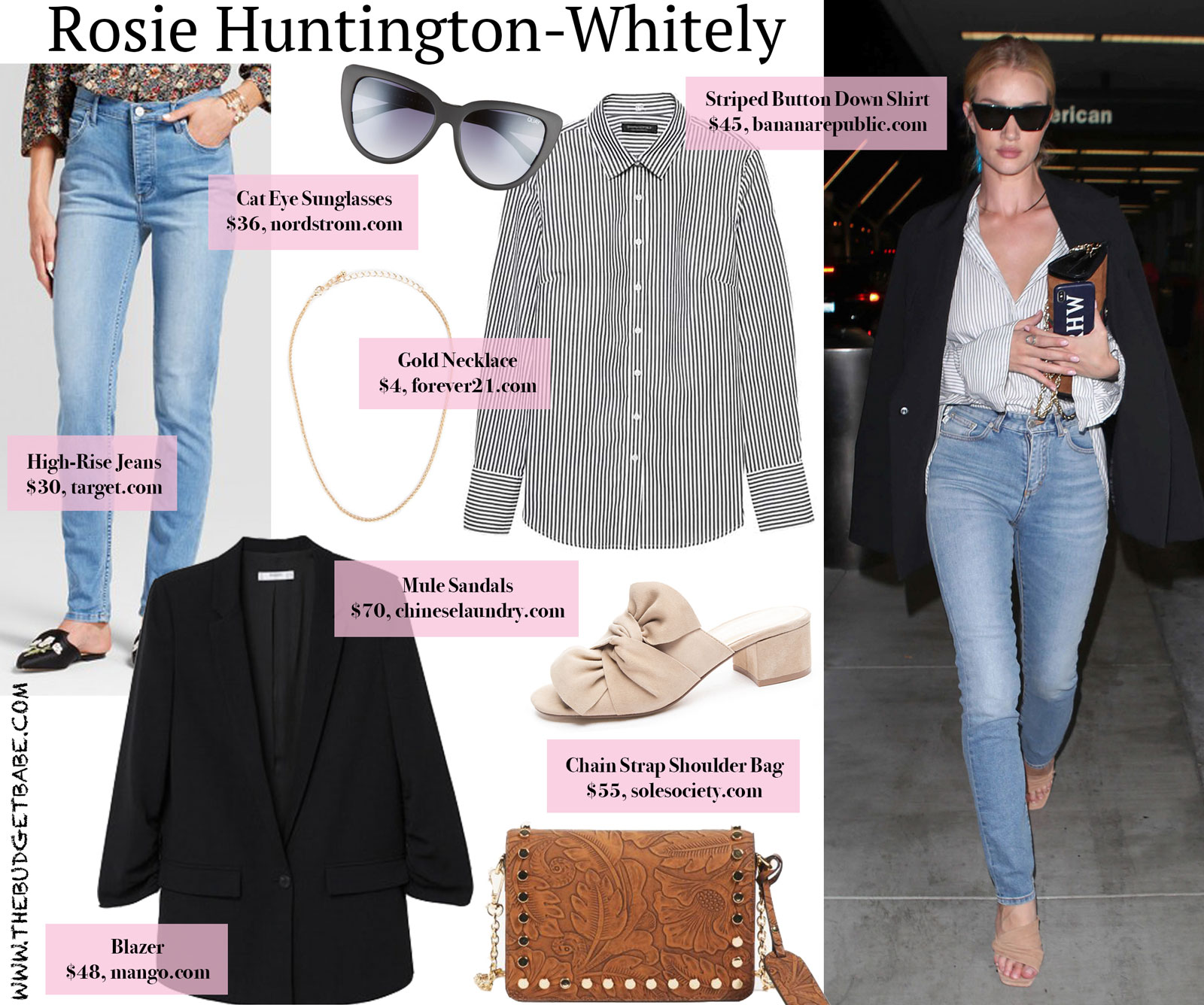 Rosie Huntington-Whitely Striped Button Down and Black Blazer Look for Less