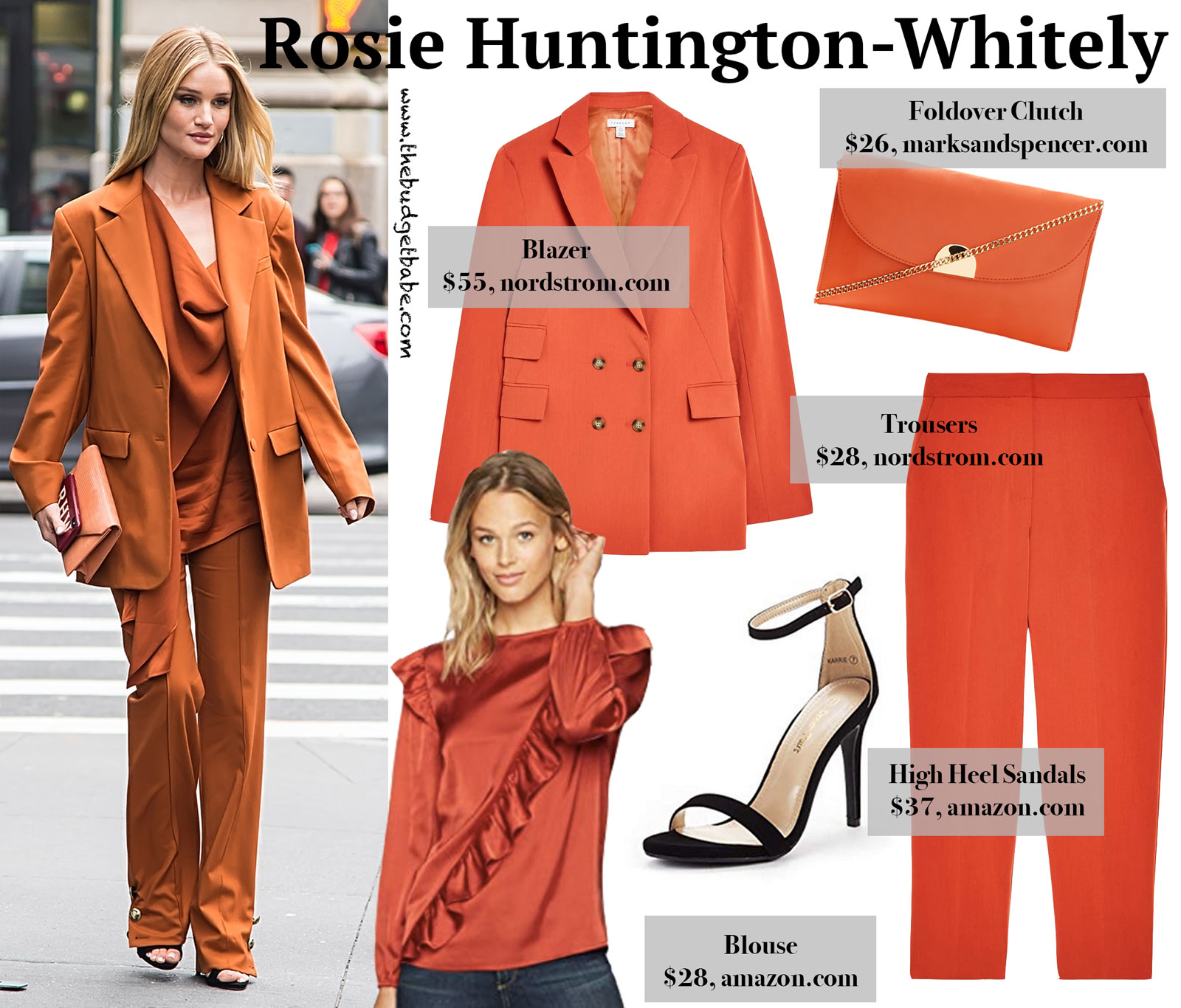 Rosie Huntington-Whitely Rust Orange Suit Look for Less