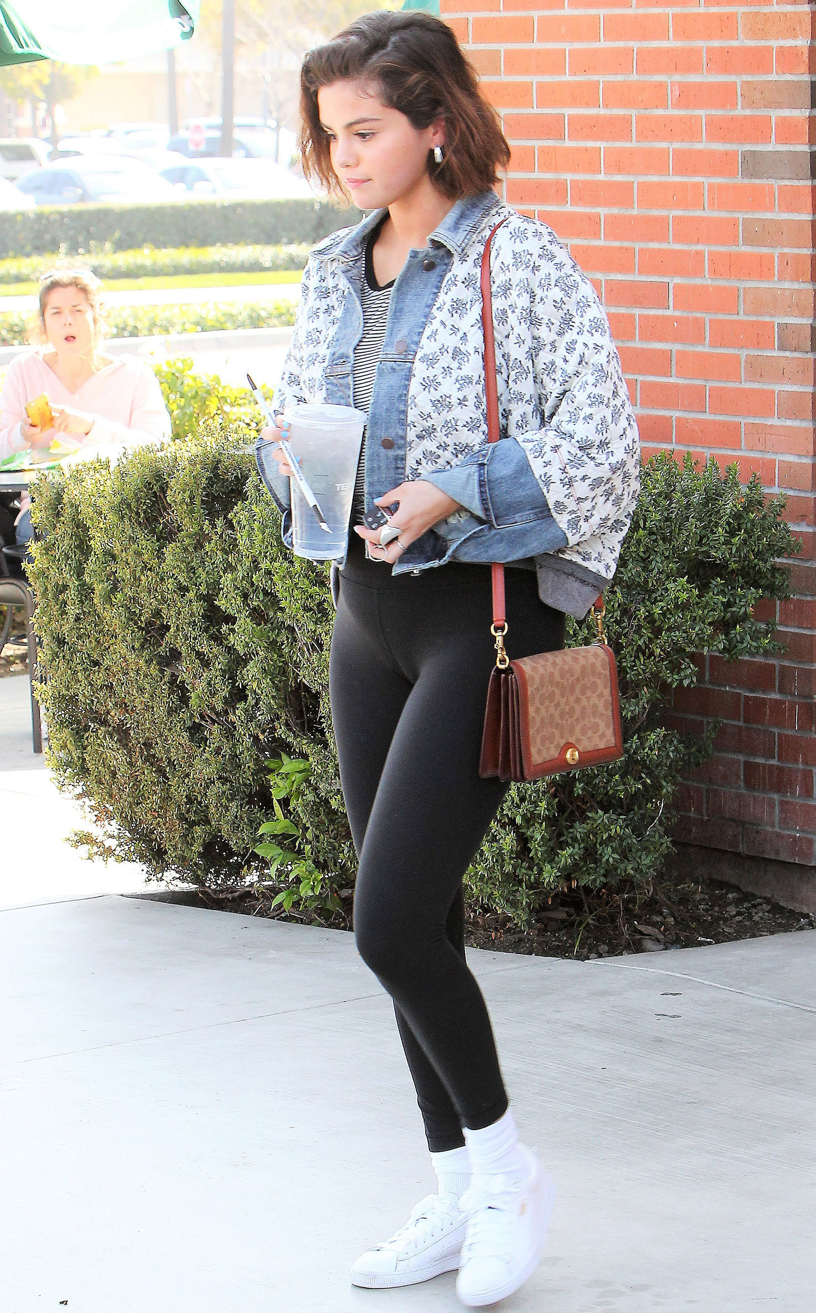 Selena Gomez Free People Floral Denim Jacket