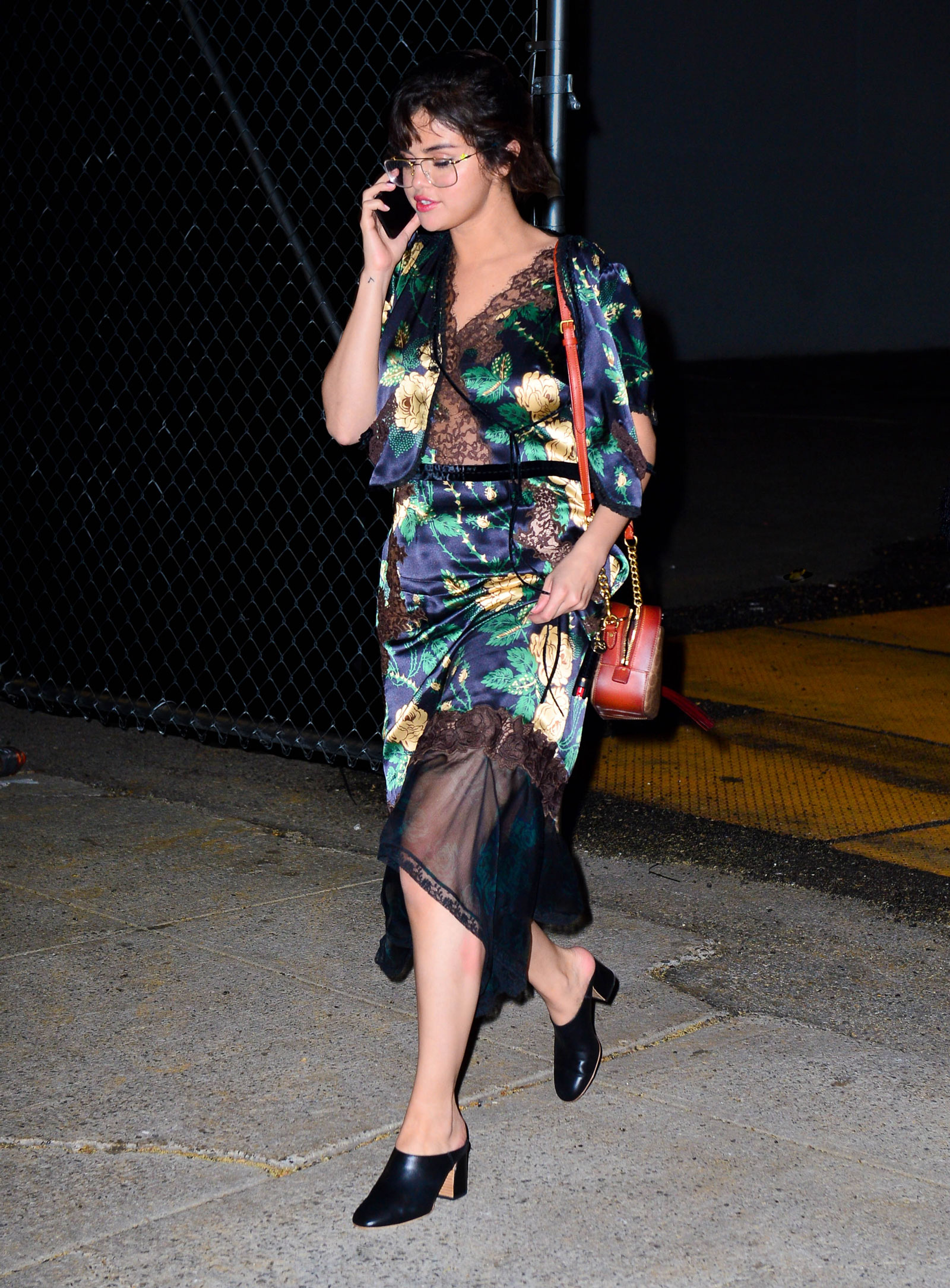 Selena Gomez Floral Dress and Mules