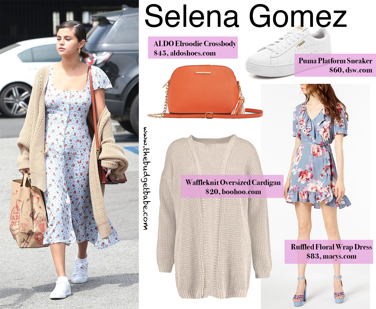 d0965b9224ab6 Selena Gomez's Floral Dress and Oversized Cardigan Look For Less ...