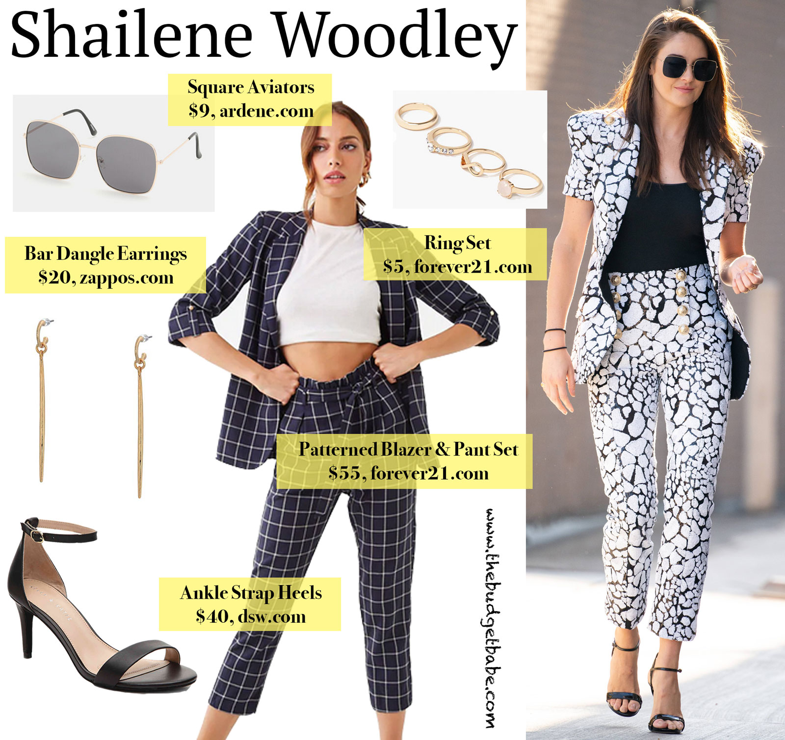 Shailene Woodley Patterned Pantsuit Look for Less