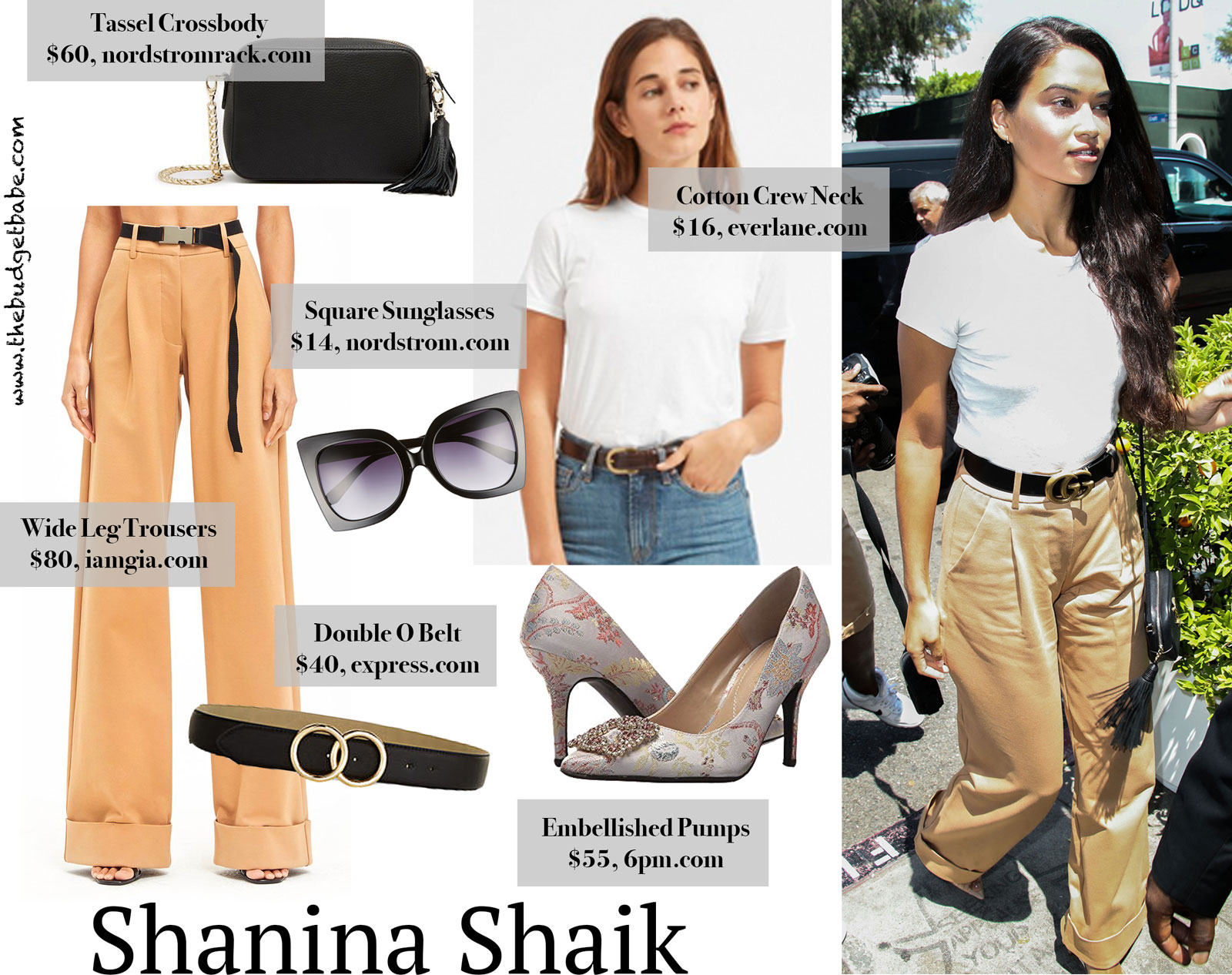 Shanina Shaik Wide Leg Pants and Gucci Belt Look for Less