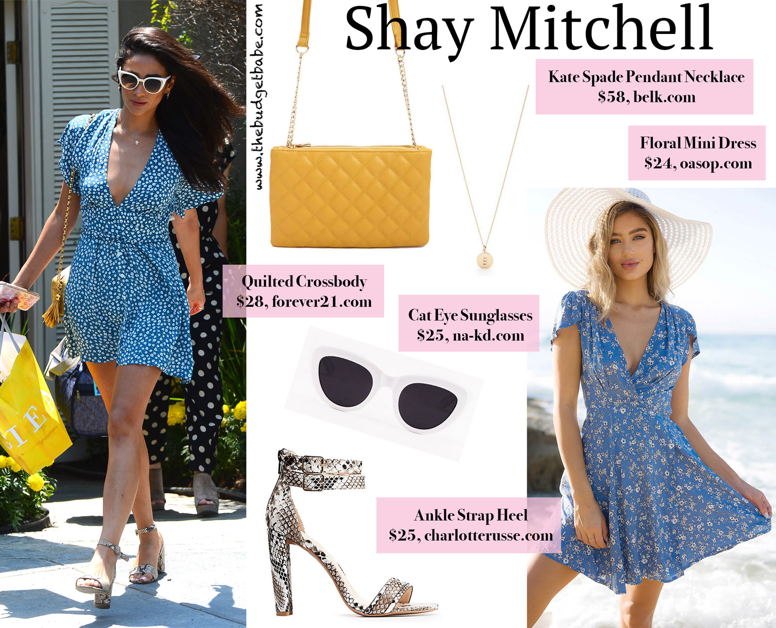 Shay Mitchell Blue Floral Mini Dress Look for Less