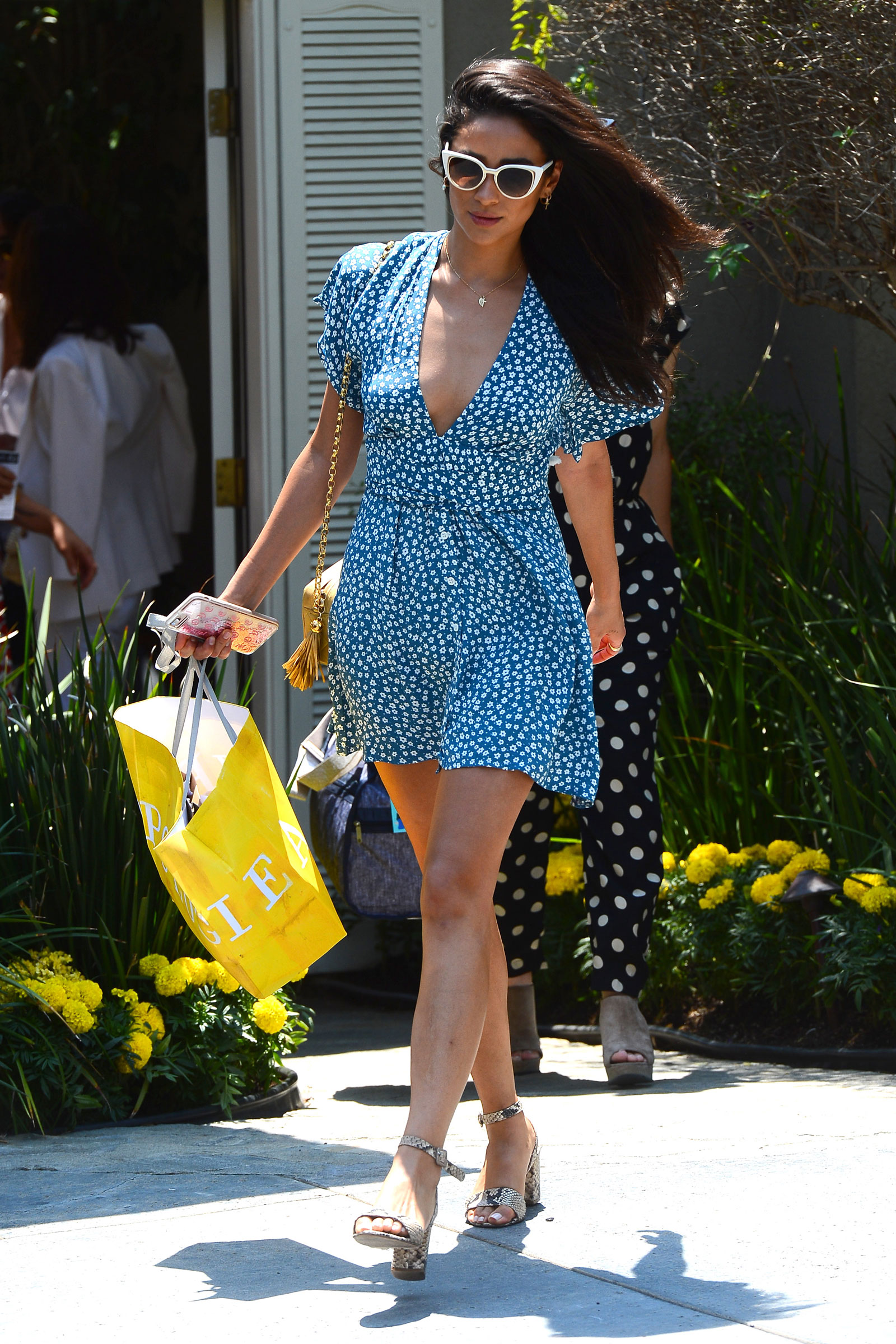 Shay Mitchell Blue Floral Mini Dress and Snake Print Heels