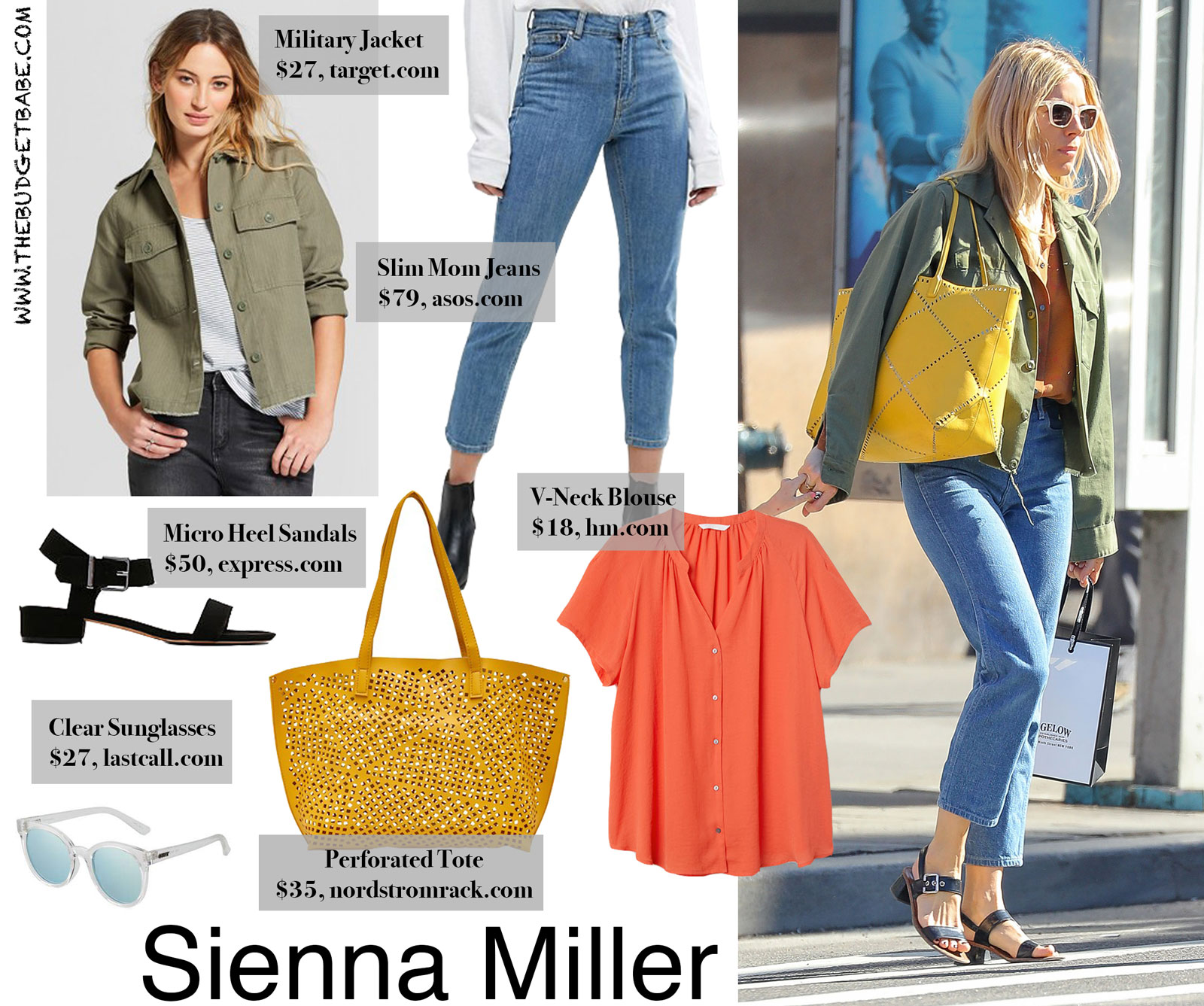 Sienna Miller's Army Jacket and Yellow Tote Look for Less