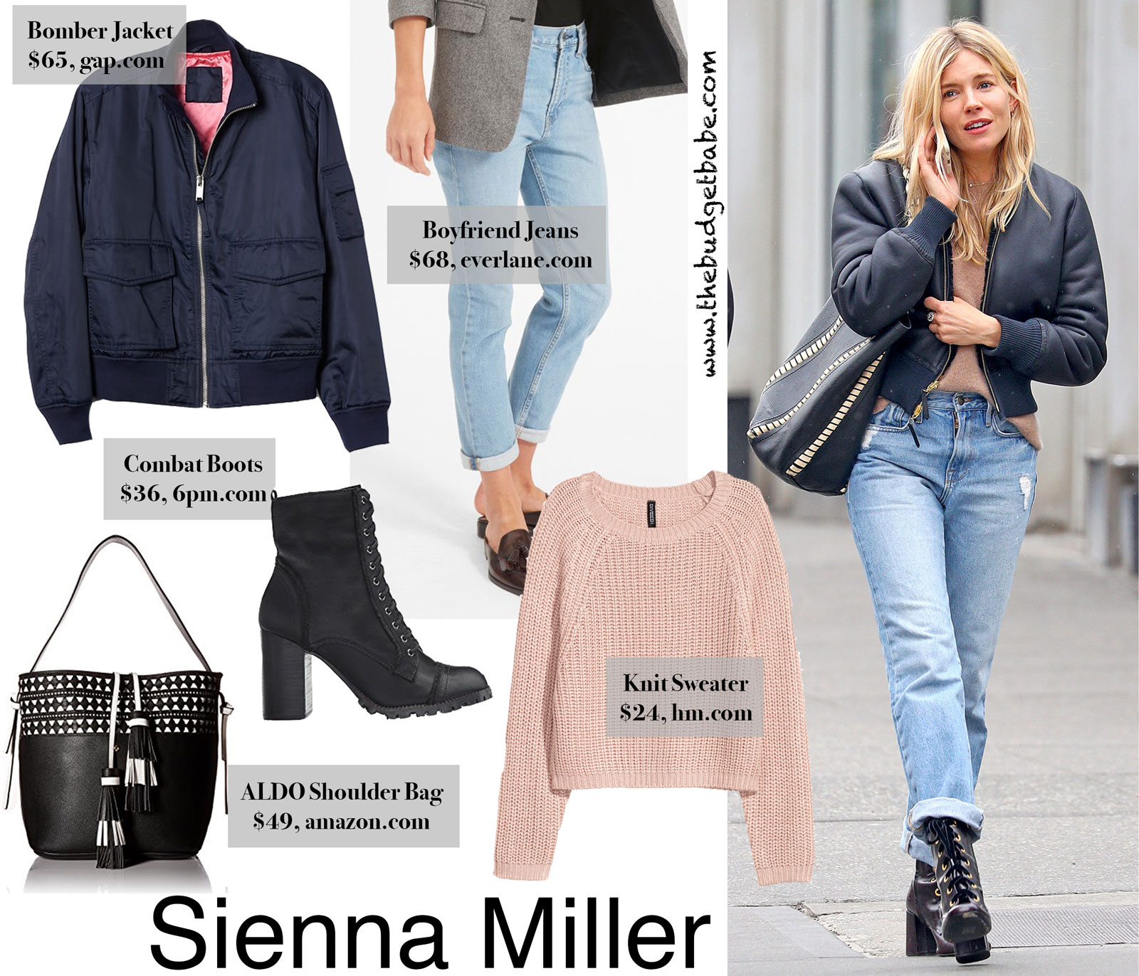 Sienna Miller's Bomber Jacket and Boyfriend Jeans Look for Less