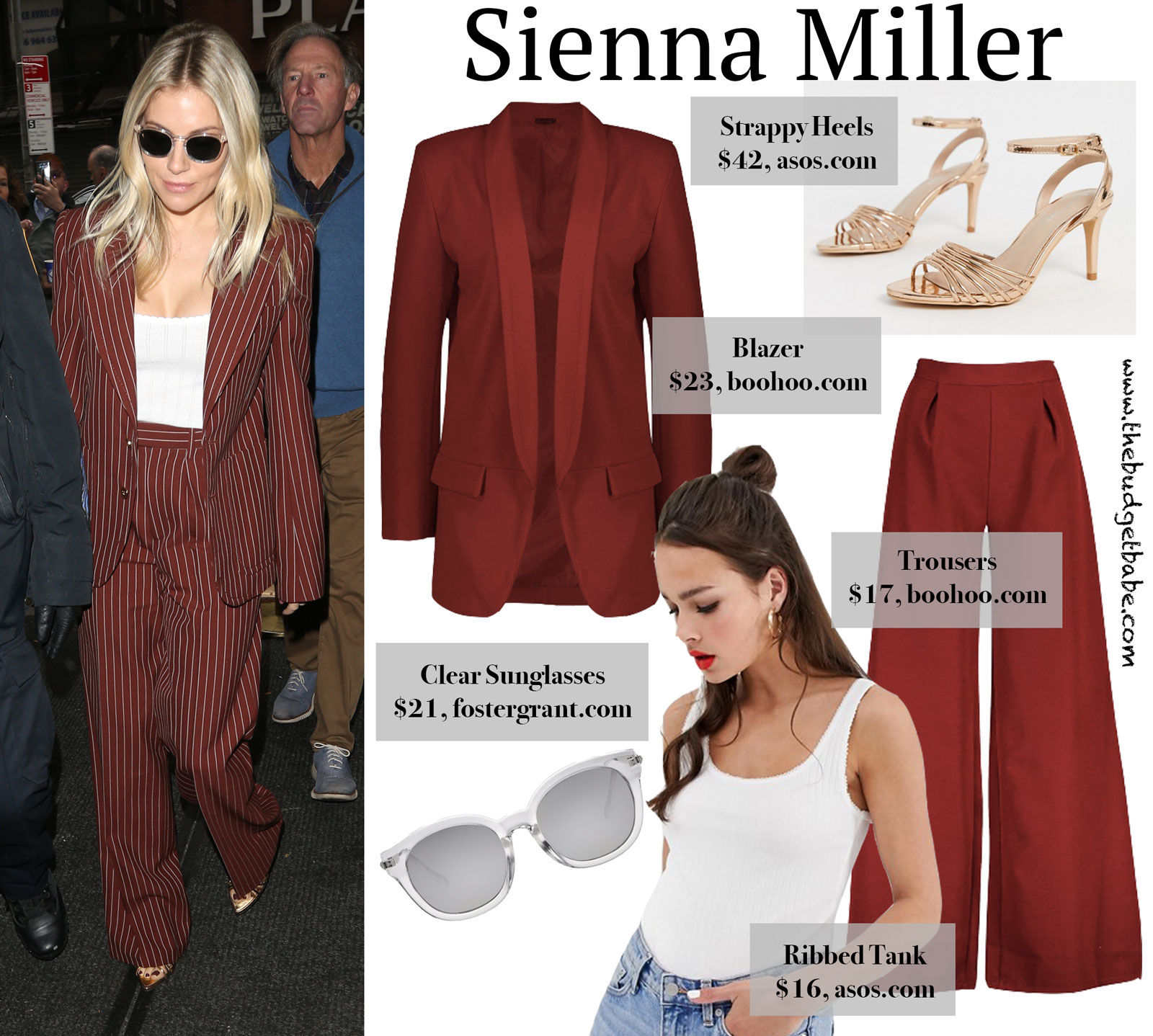 Sienna Miller Burgundy Suit Look for Less