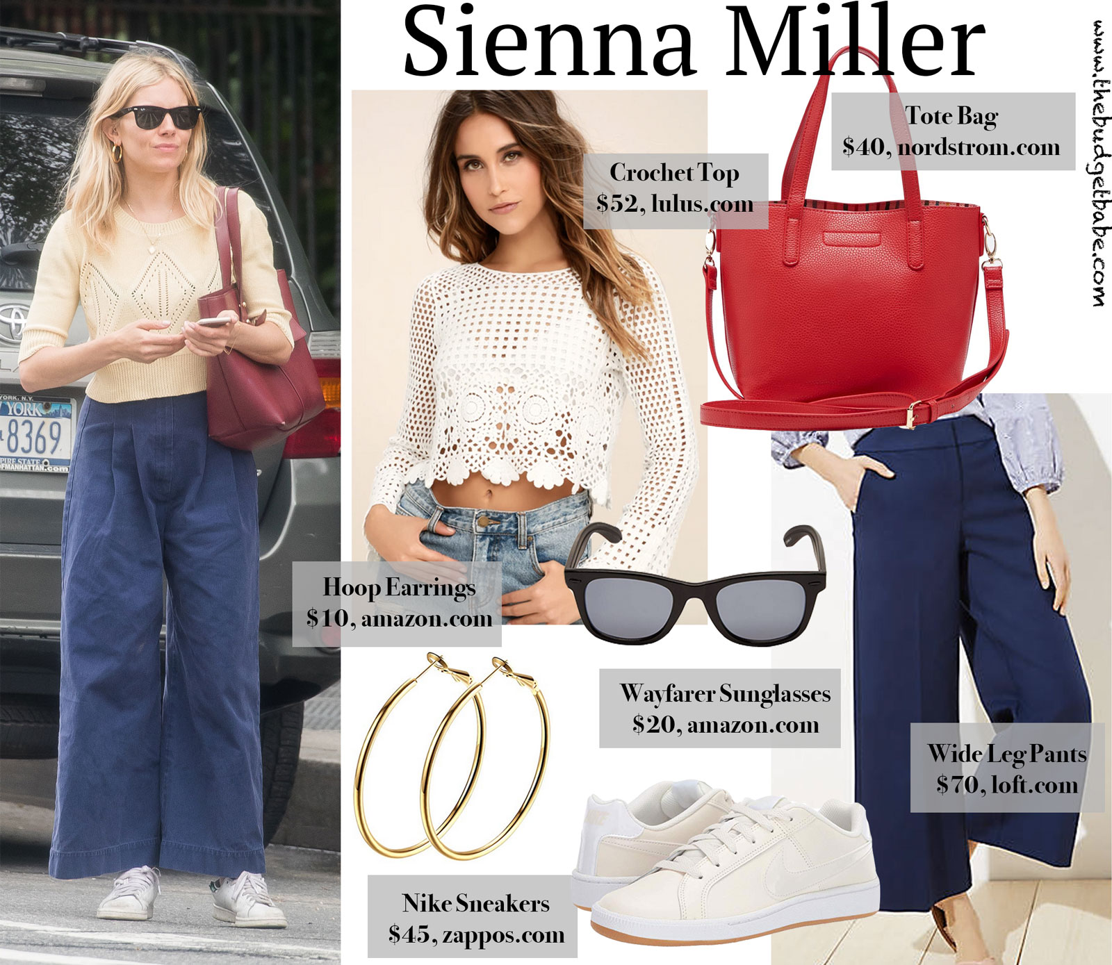 Sienna Miller's Wide Leg Navy Pants Look for Less