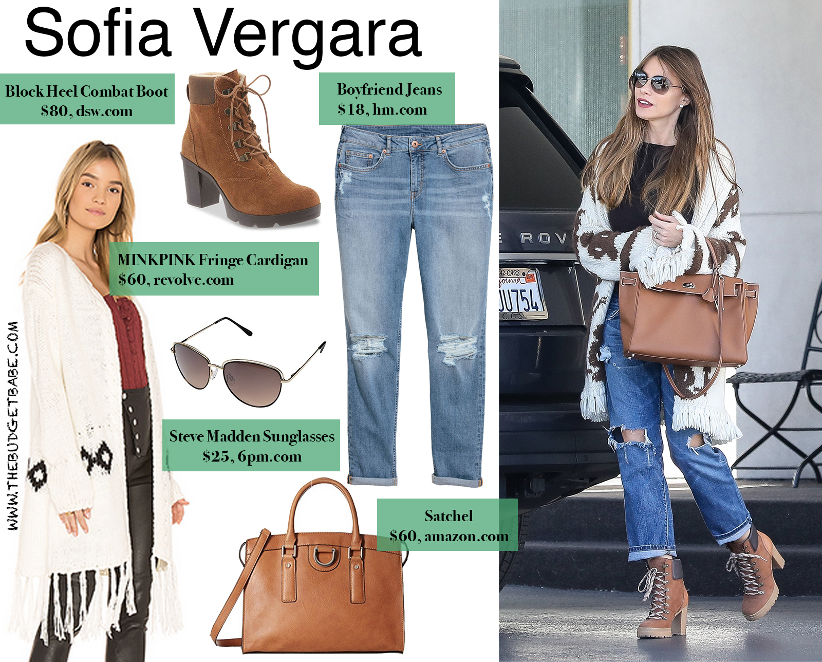 Sofia Vergara Fringe Cardigan and Heeled Combat Boots Look for Less